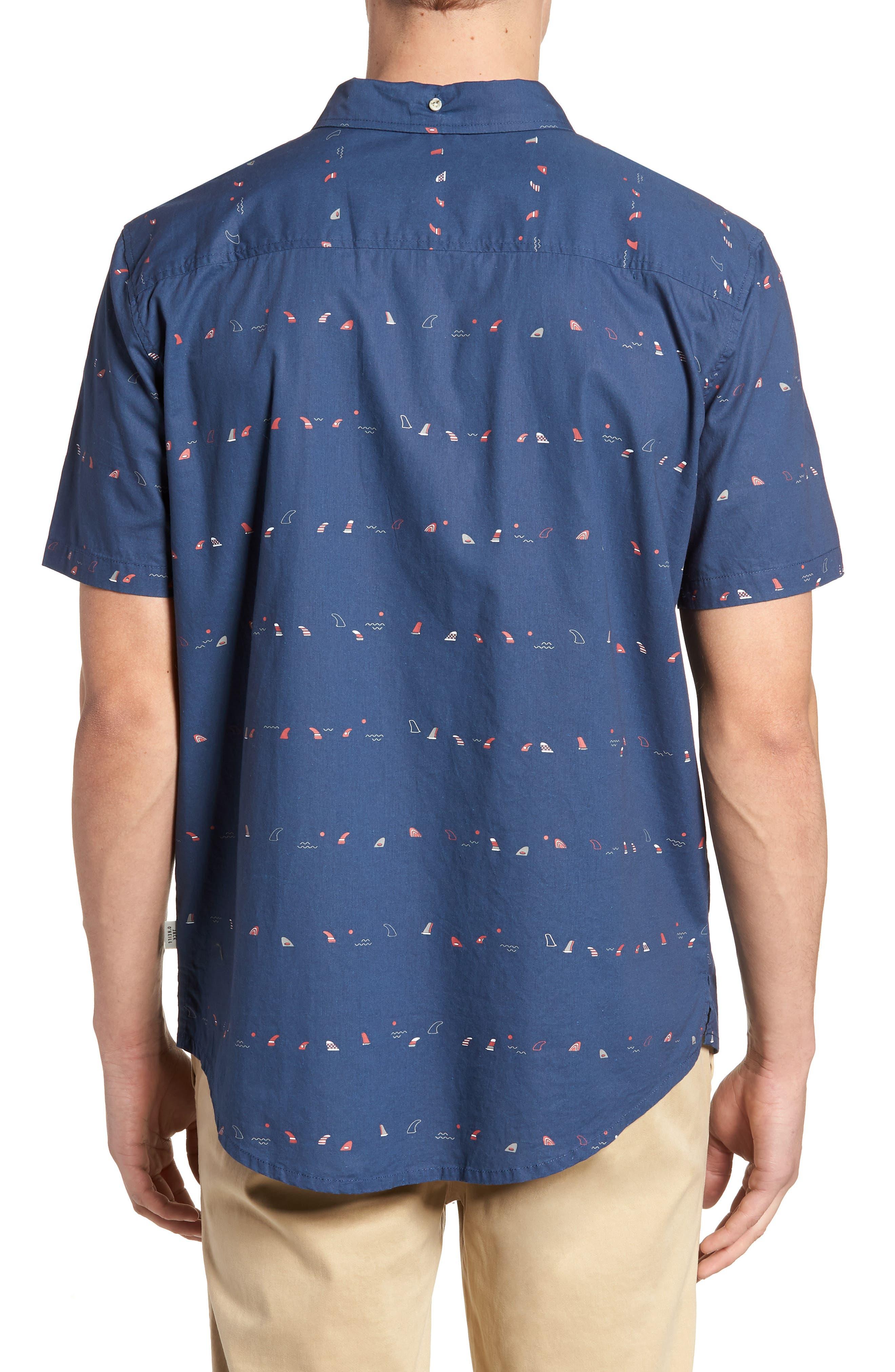 Single Fin Regular Fit Short Sleeve Sport Shirt,                             Alternate thumbnail 4, color,