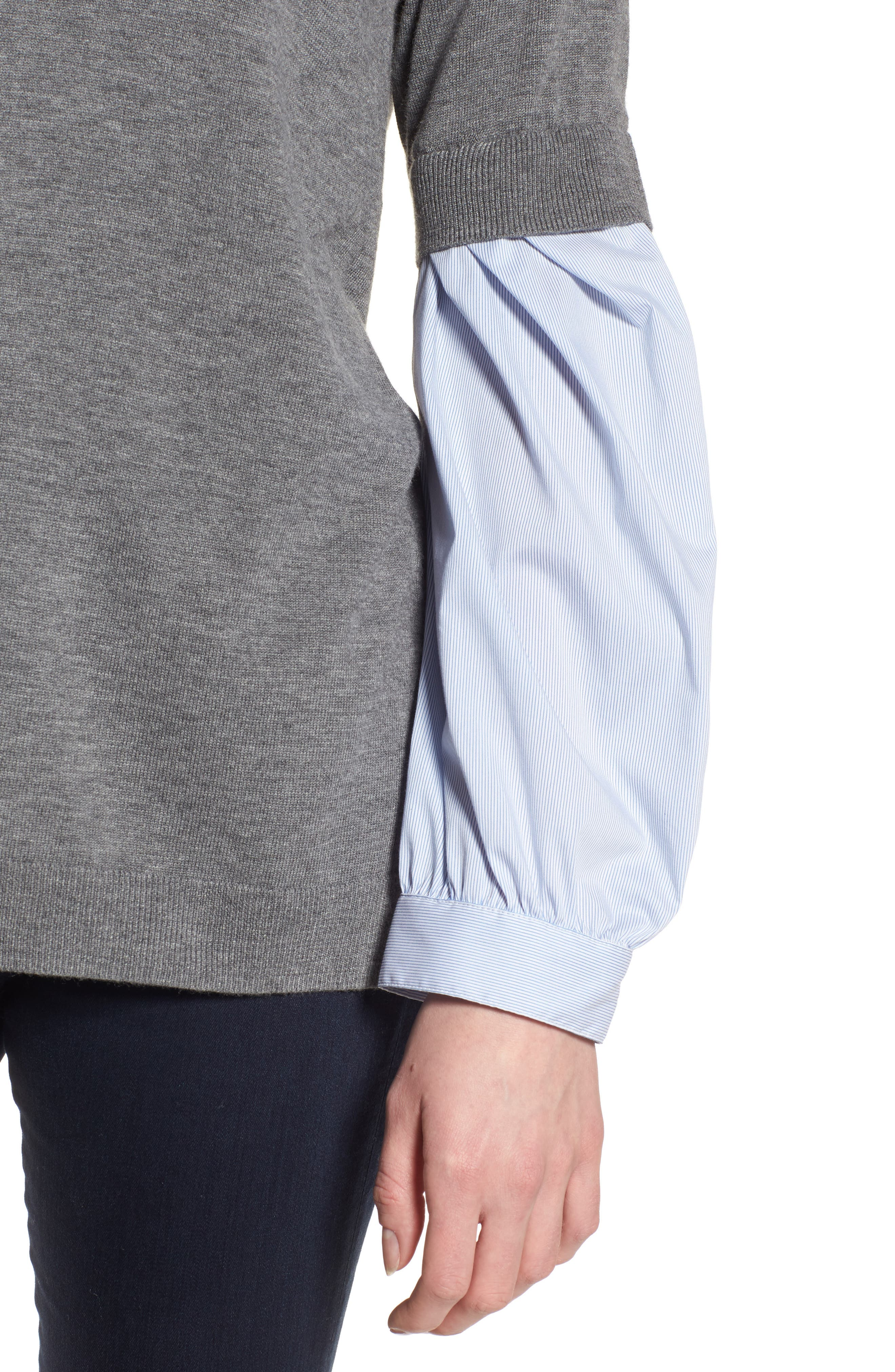 Woven Sleeve Sweater,                             Alternate thumbnail 4, color,                             030