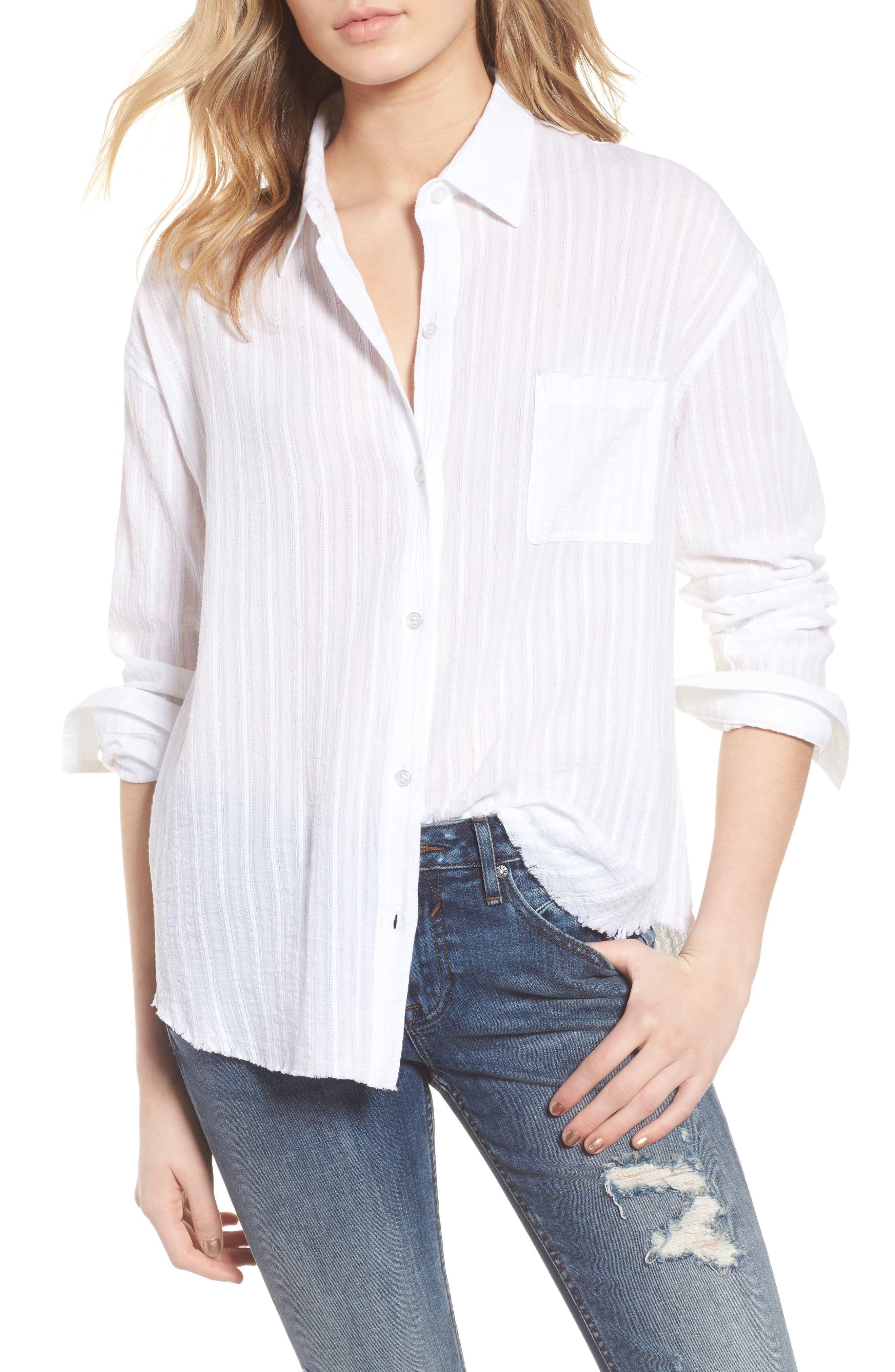 Raw Hem Shirt,                         Main,                         color, 100
