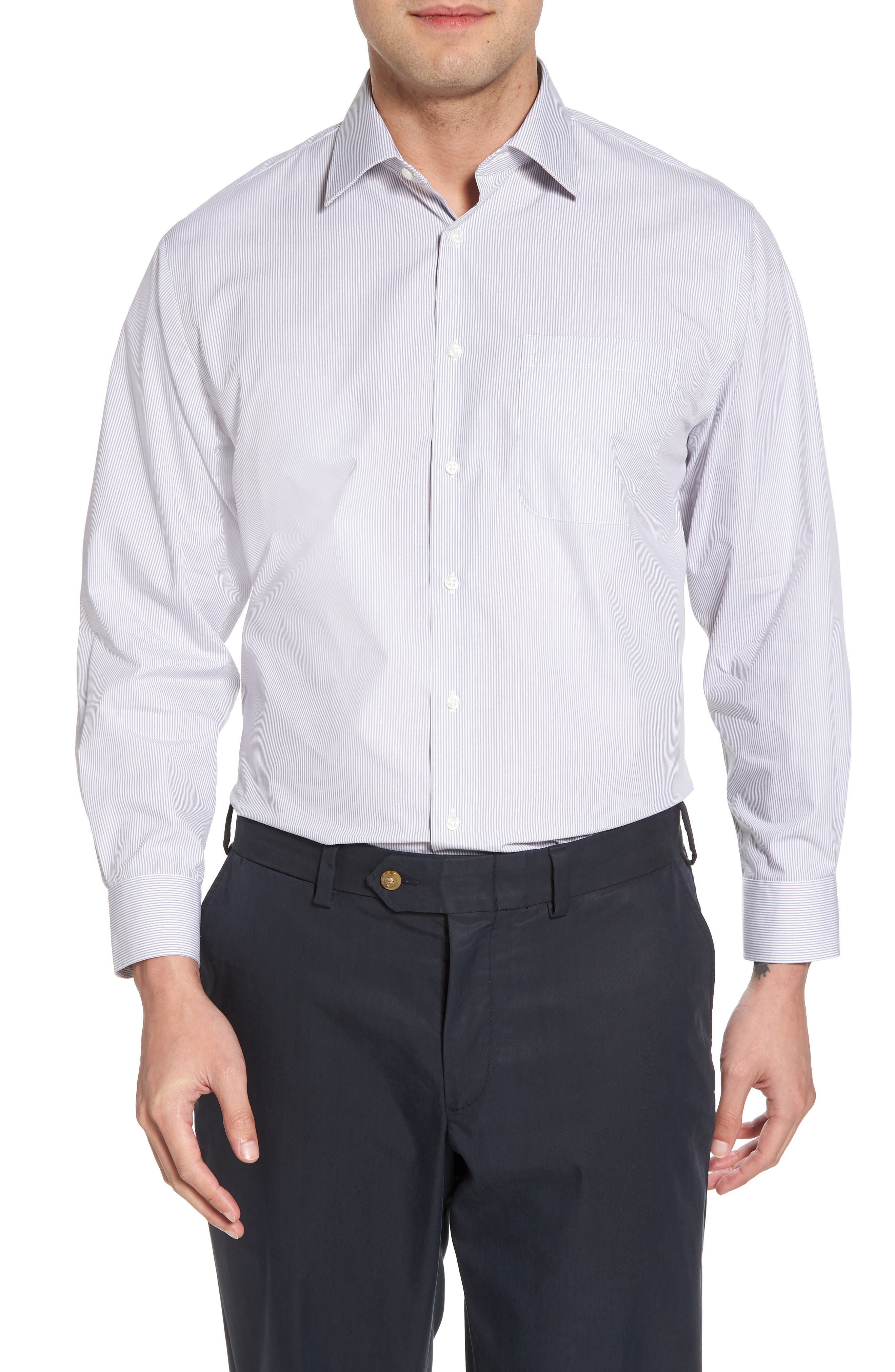 Smartcare<sup>™</sup> Traditional Fit Stripe Dress Shirt,                         Main,                         color, 051