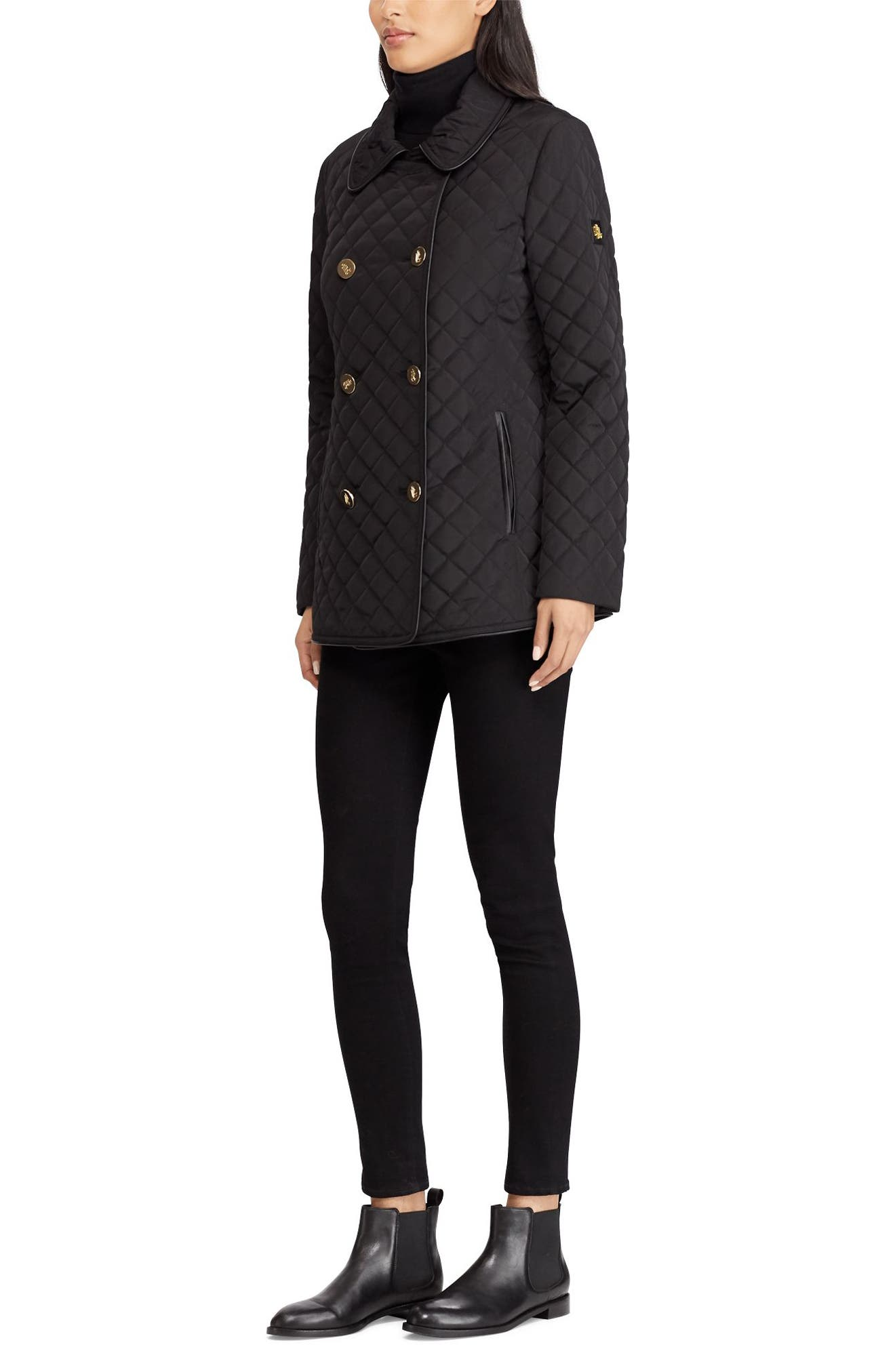 Double Breasted Quilted Coat,                             Alternate thumbnail 3, color,                             001