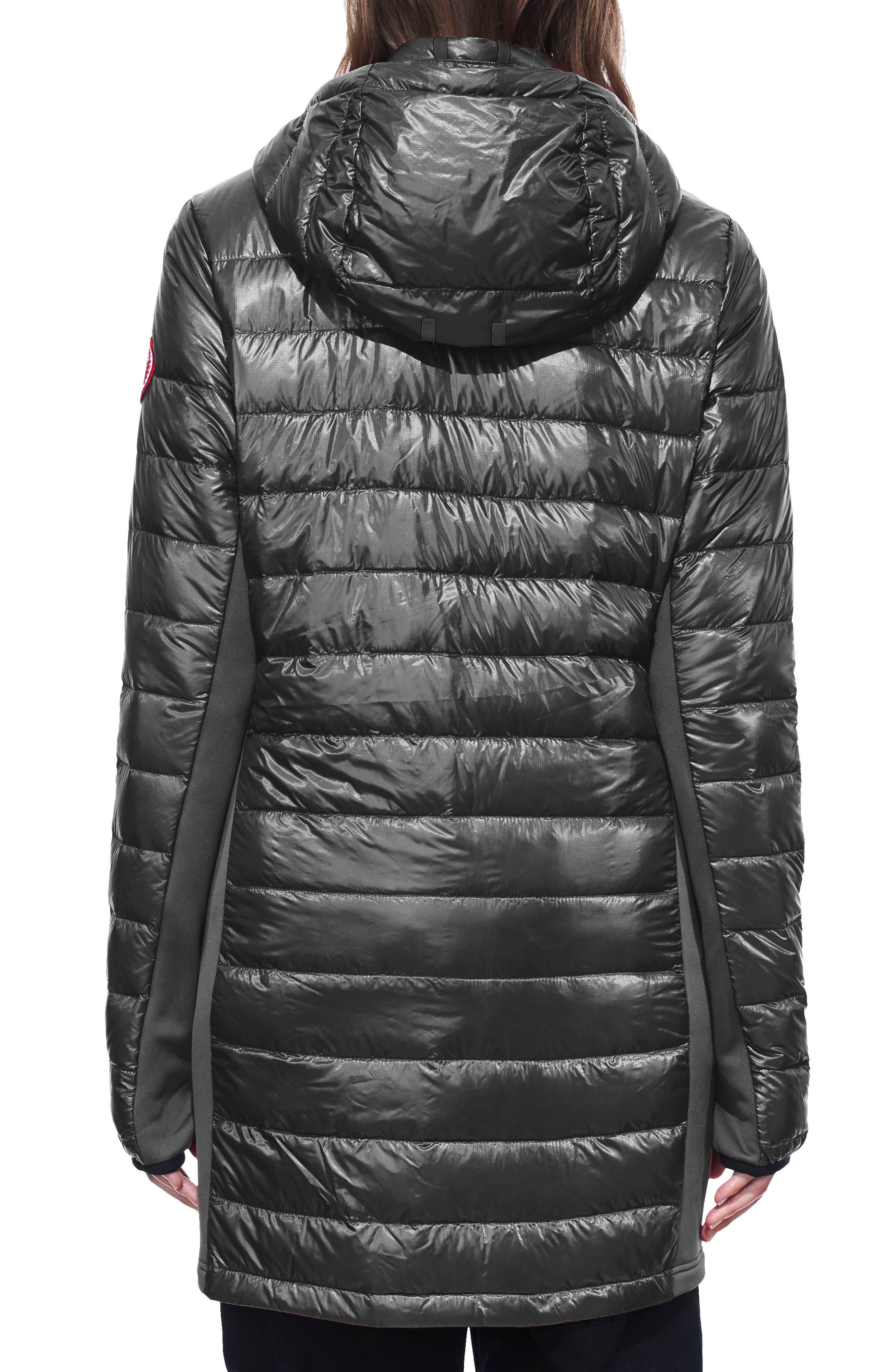 Hybridge Lite Slim Fit Hooded Packable Goose Down Coat,                             Alternate thumbnail 2, color,                             GRAPHITE/ BLACK