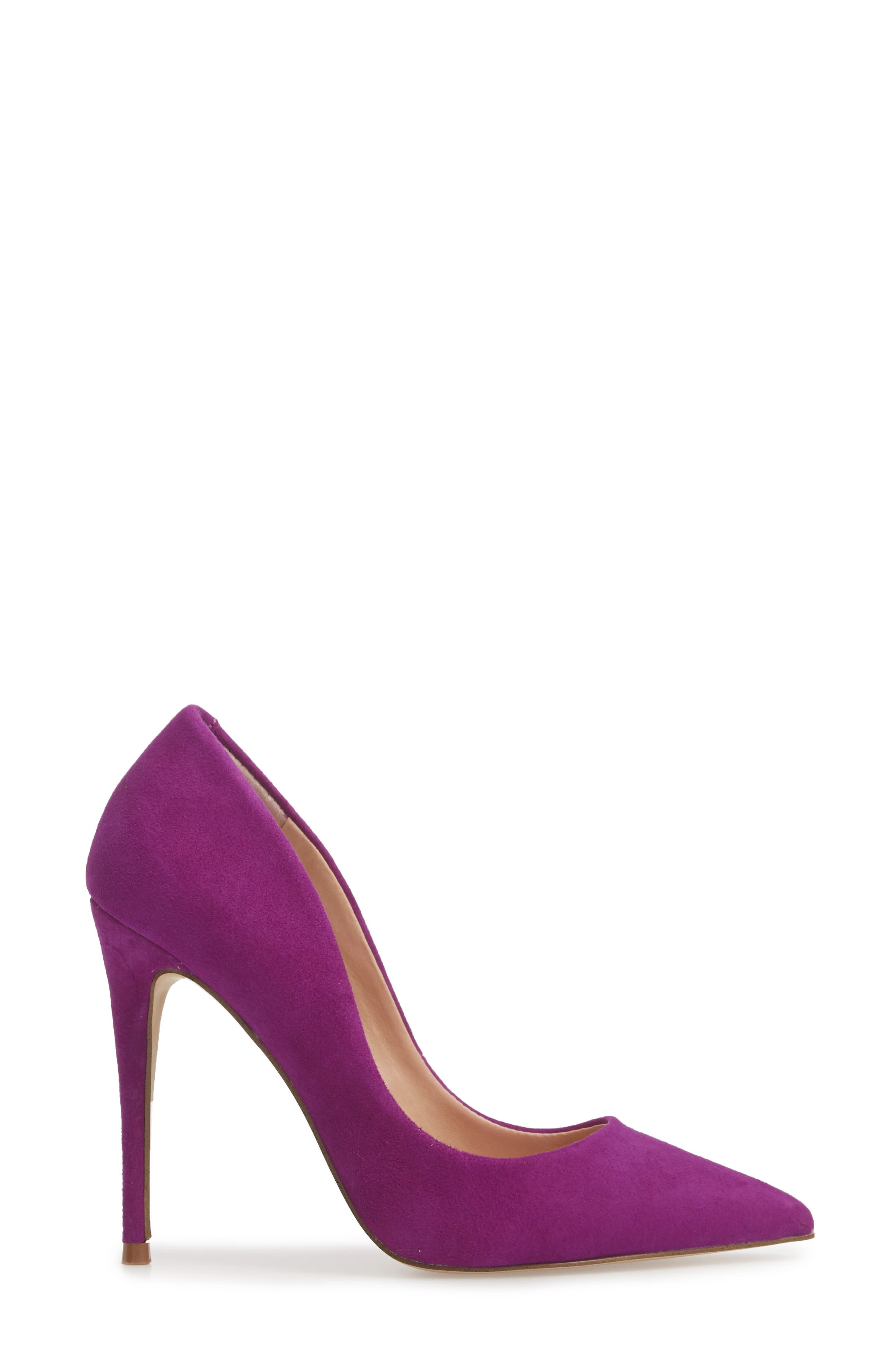 Daisie Pointy-Toe Pump,                             Alternate thumbnail 3, color,                             PURPLE SUEDE