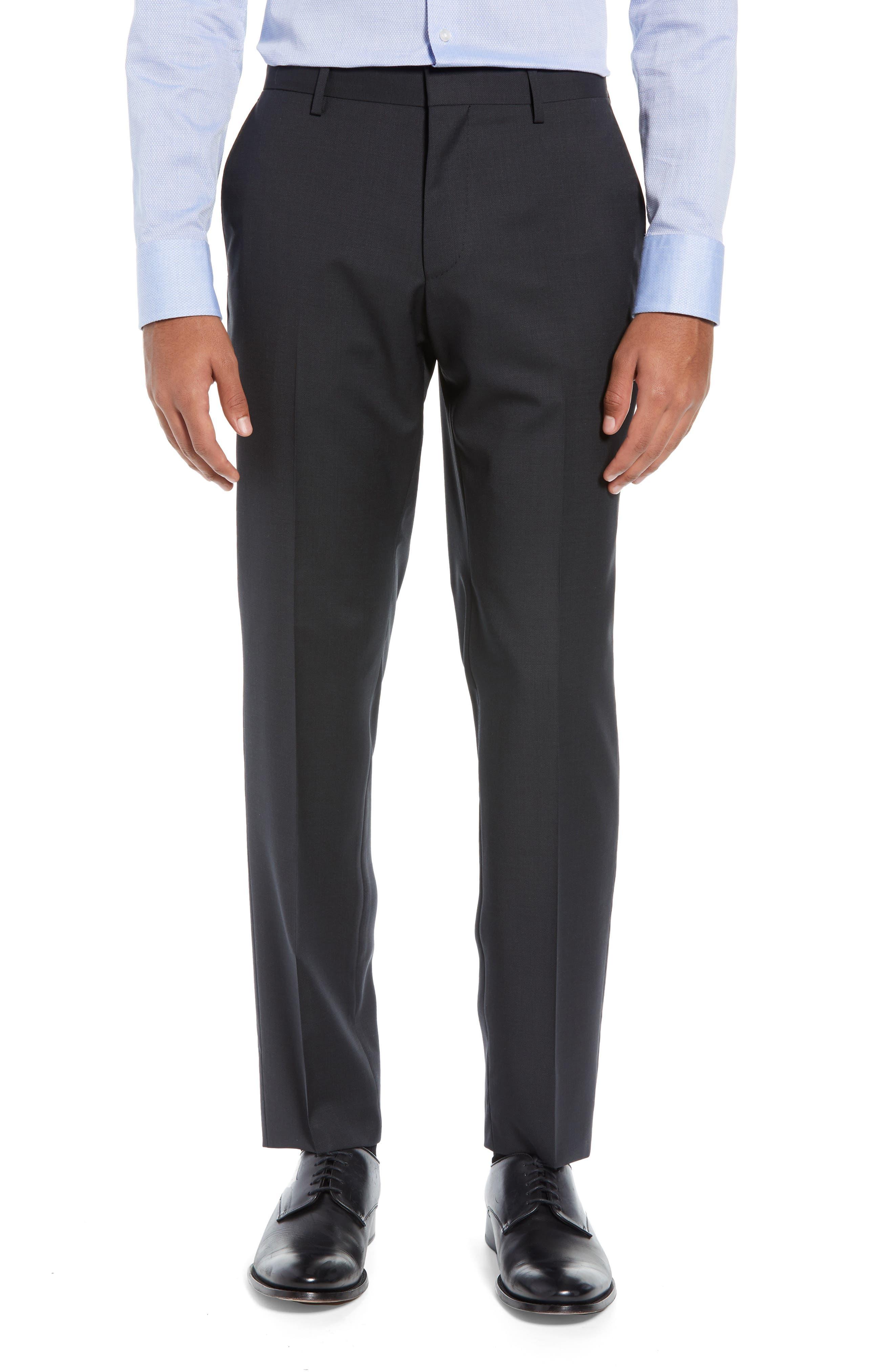 BOSS,                             Helward/Genius Trim Fit Solid Three Piece Wool Suit,                             Alternate thumbnail 7, color,                             DARK GREY