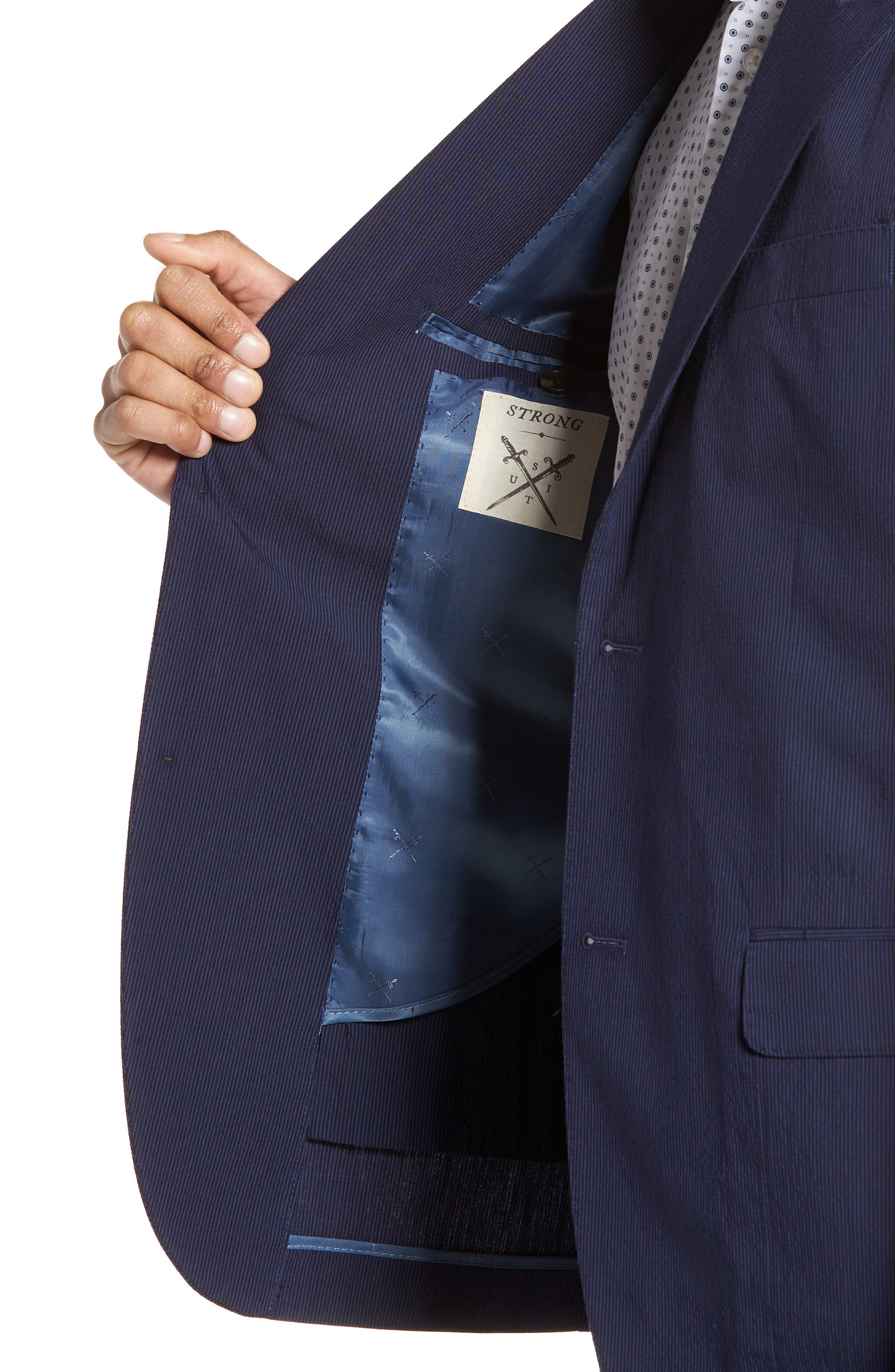 Volante Seersucker Suit Jacket,                             Alternate thumbnail 4, color,                             400