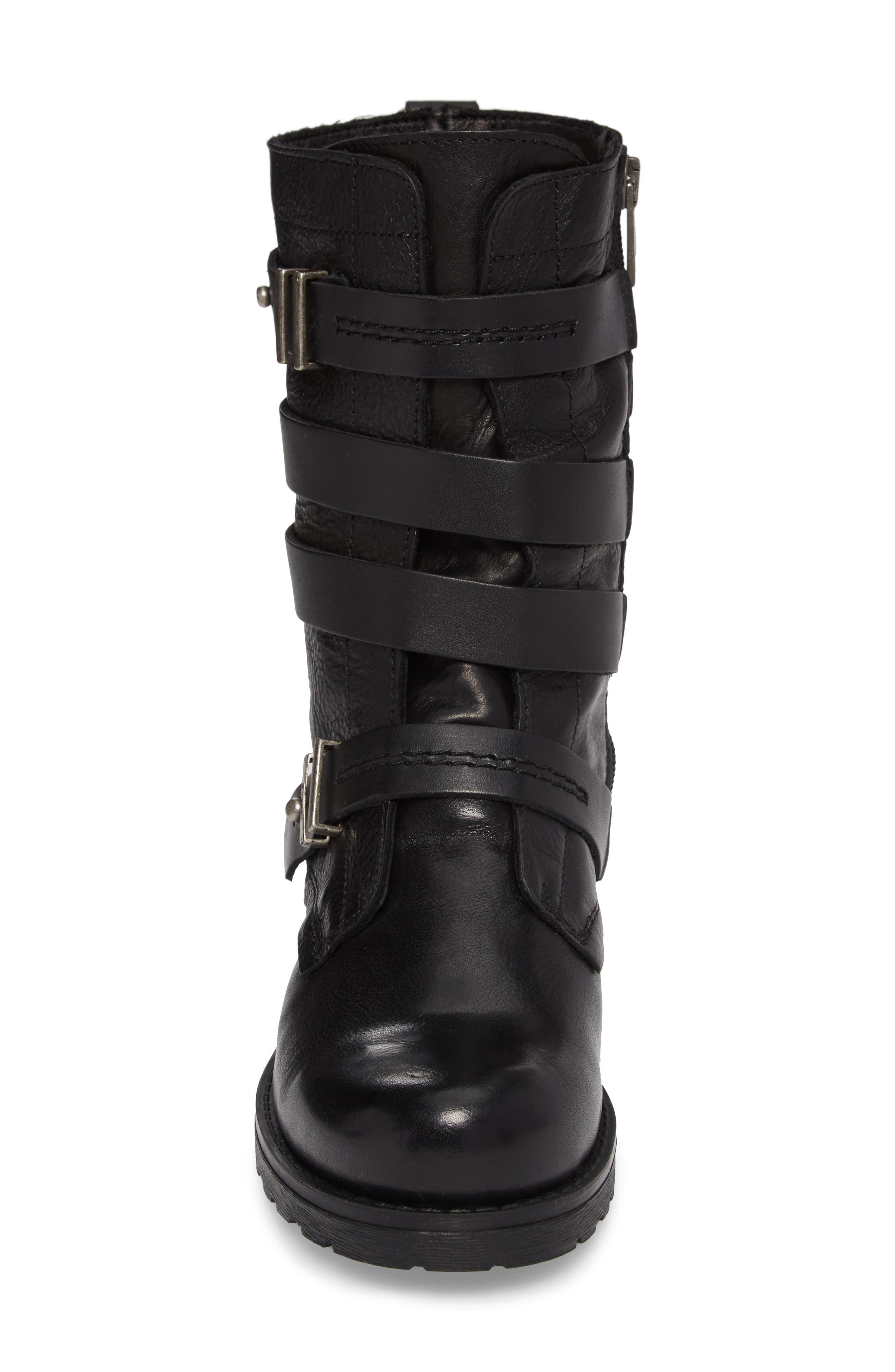 Latias Waterproof Moto Boot,                             Alternate thumbnail 4, color,                             001