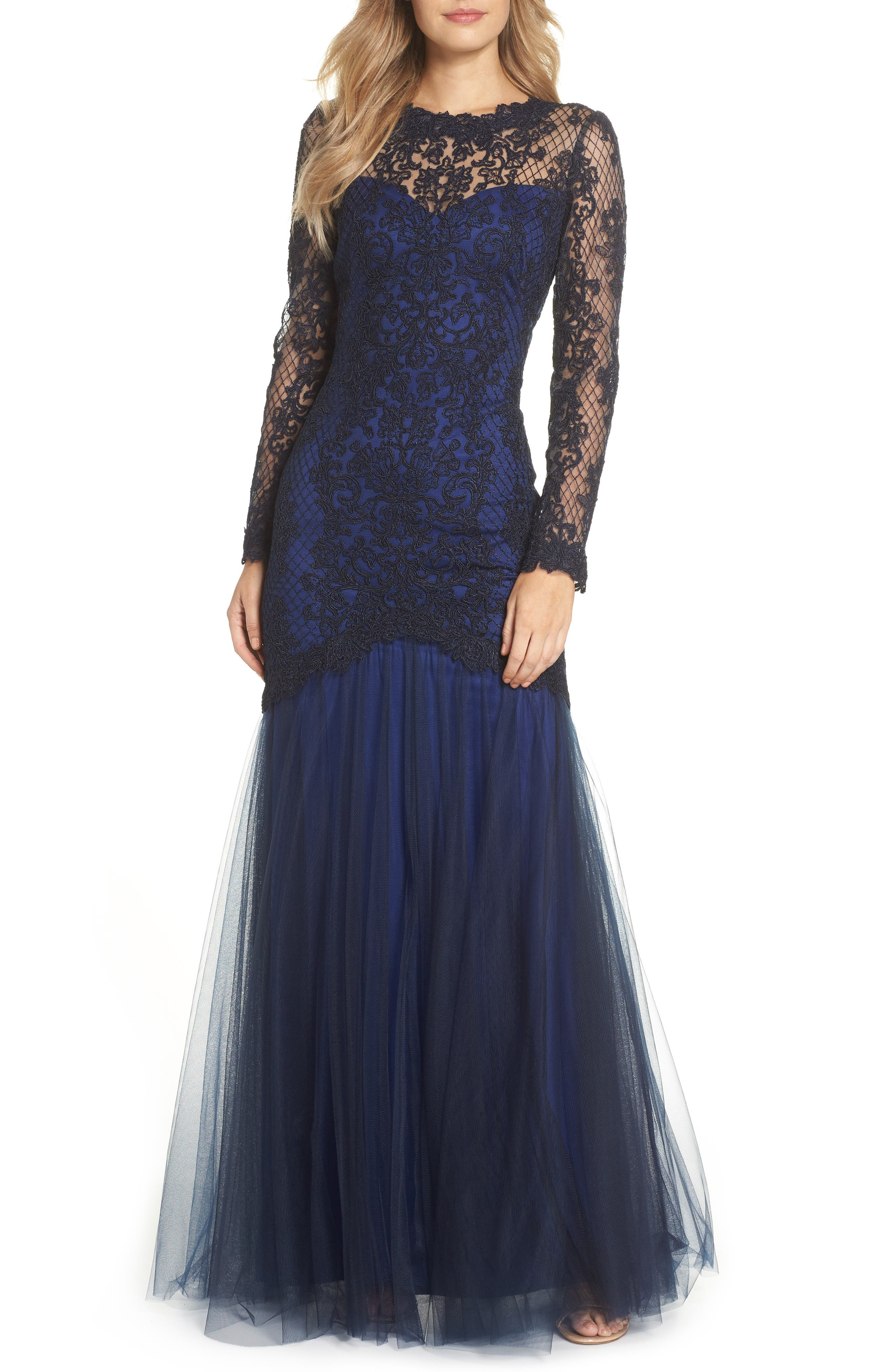 Corded Lace & Tulle Gown,                             Main thumbnail 1, color,                             NAVY