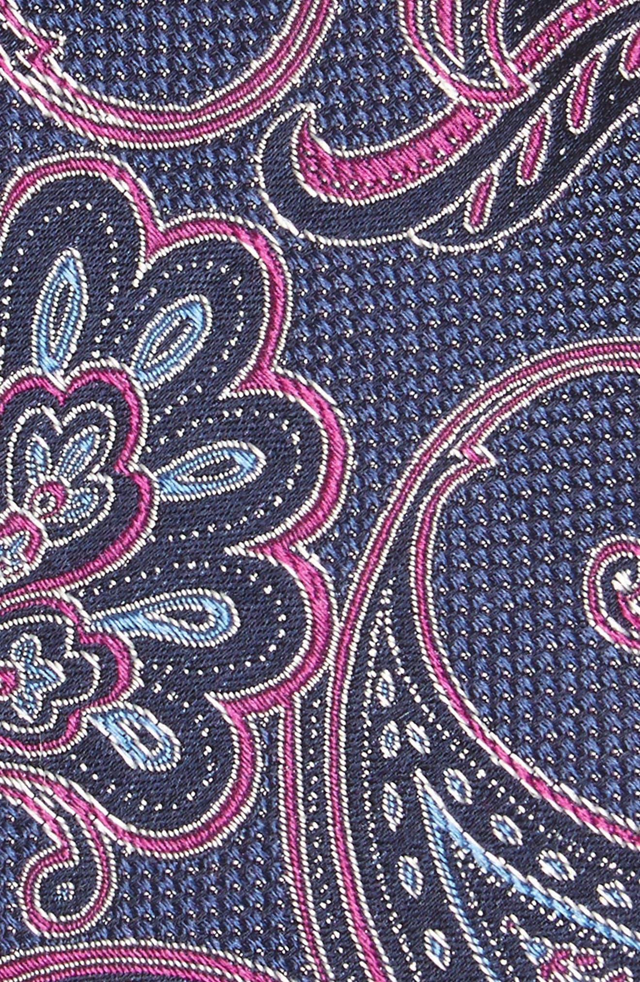 Bennett Paisley Silk Tie,                             Alternate thumbnail 2, color,                             DARK NAVY