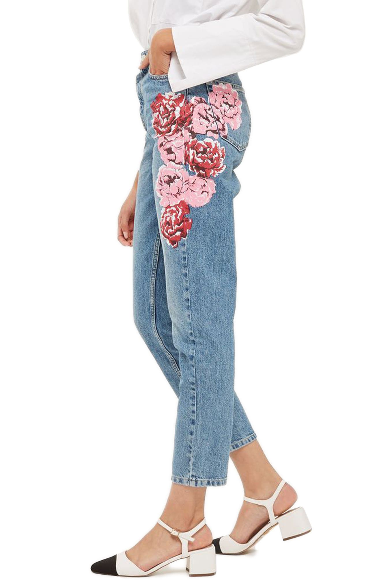 Peony Print Crop Mom Jeans,                             Alternate thumbnail 2, color,                             420