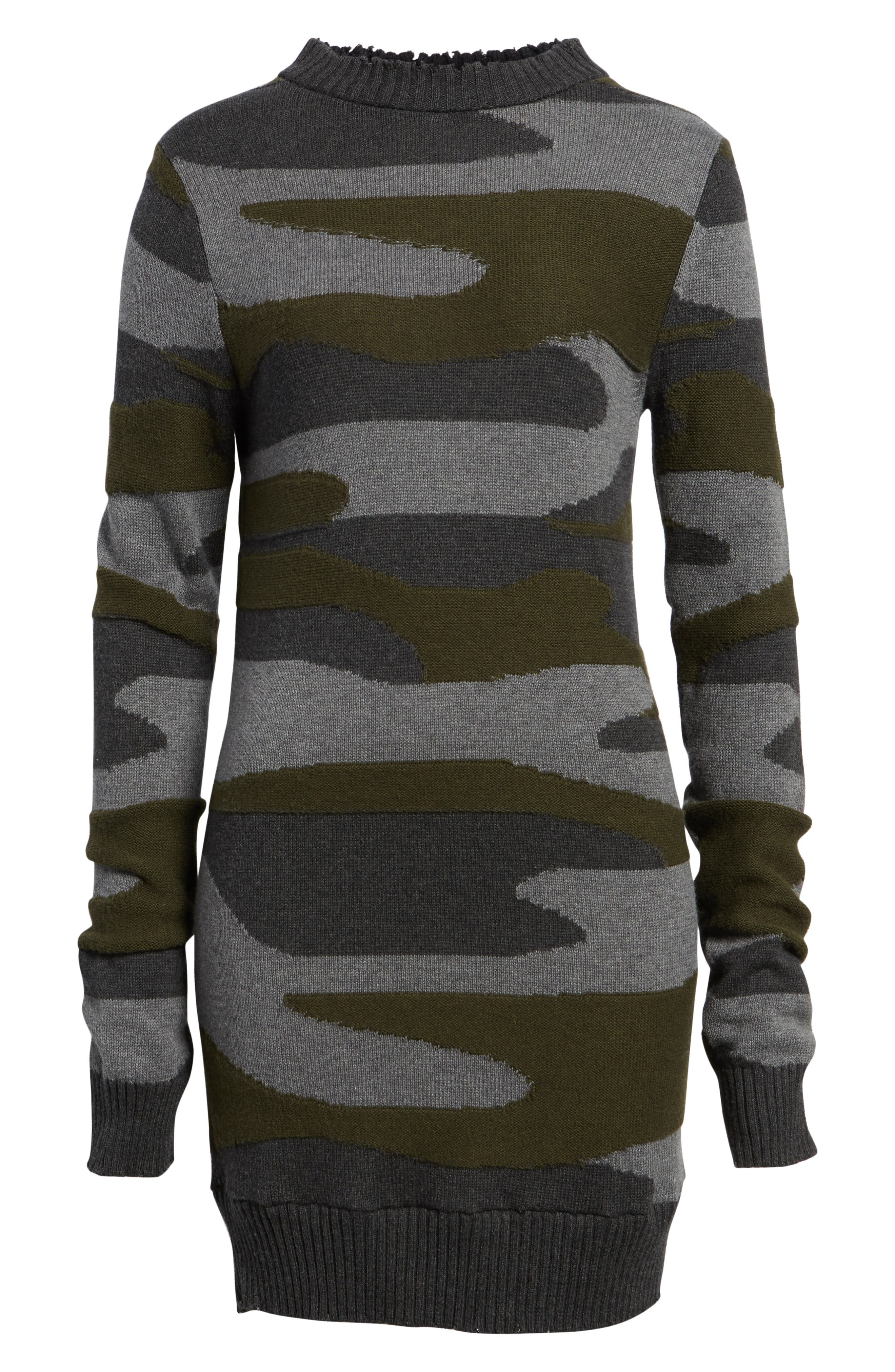 Camo Sweater Dress,                             Alternate thumbnail 6, color,                             313