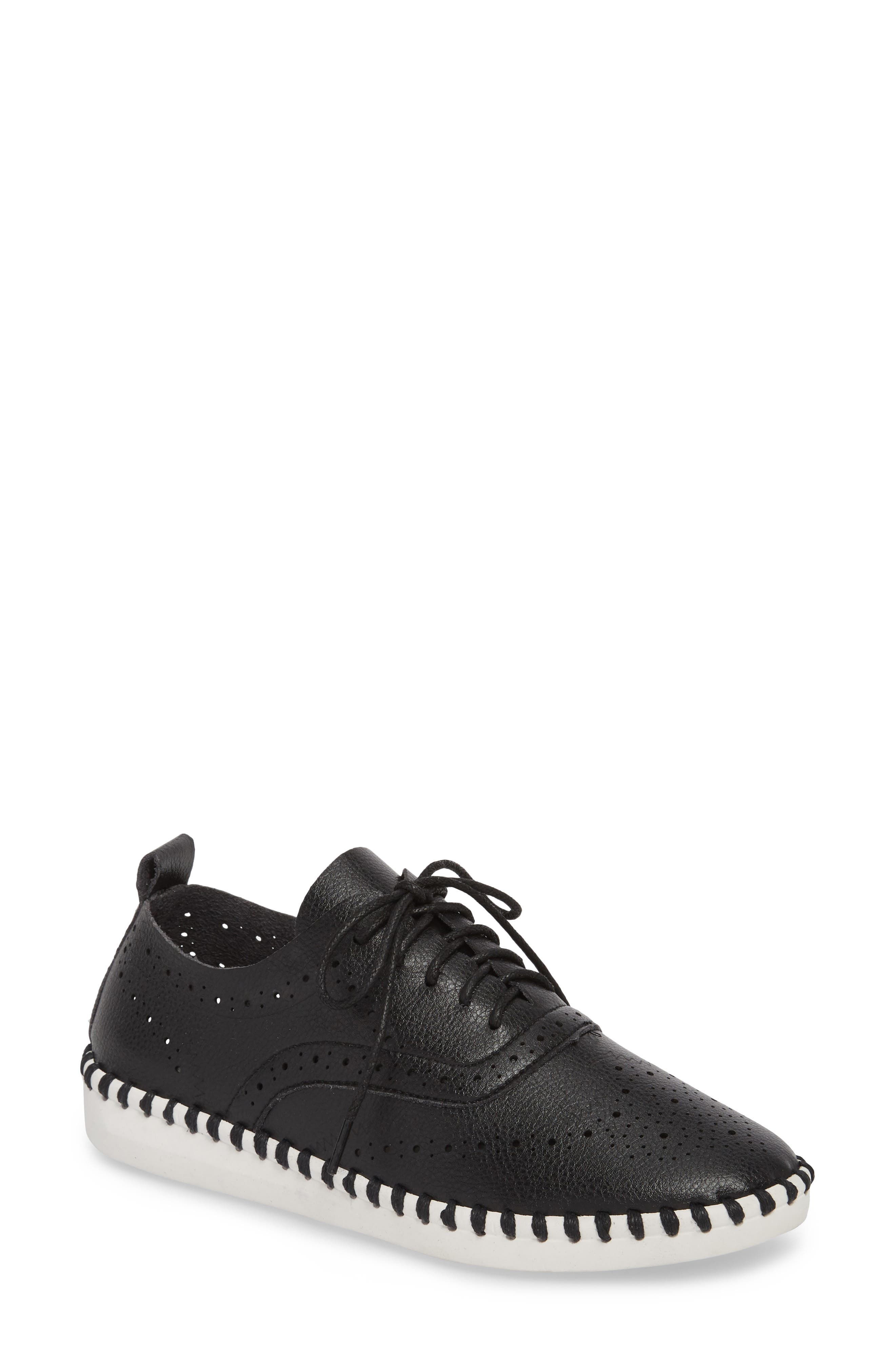 Salinas Waterproof Brogue Lace-Up Sneaker,                             Main thumbnail 1, color,                             BLACK FAUX LEATHER