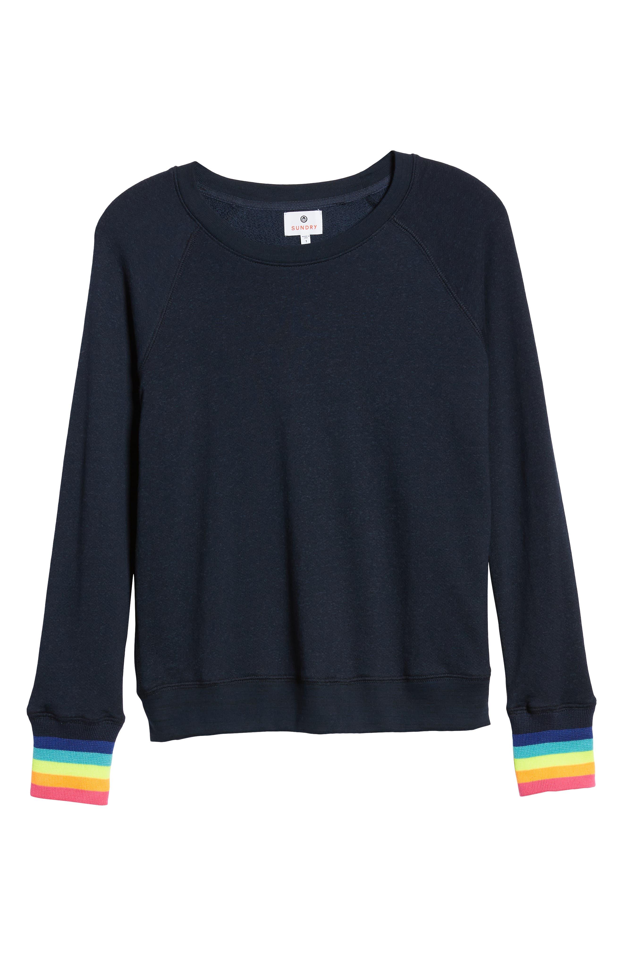 Midnight Stripe Cuff Cotton Blend Sweatshirt,                             Alternate thumbnail 6, color,                             415