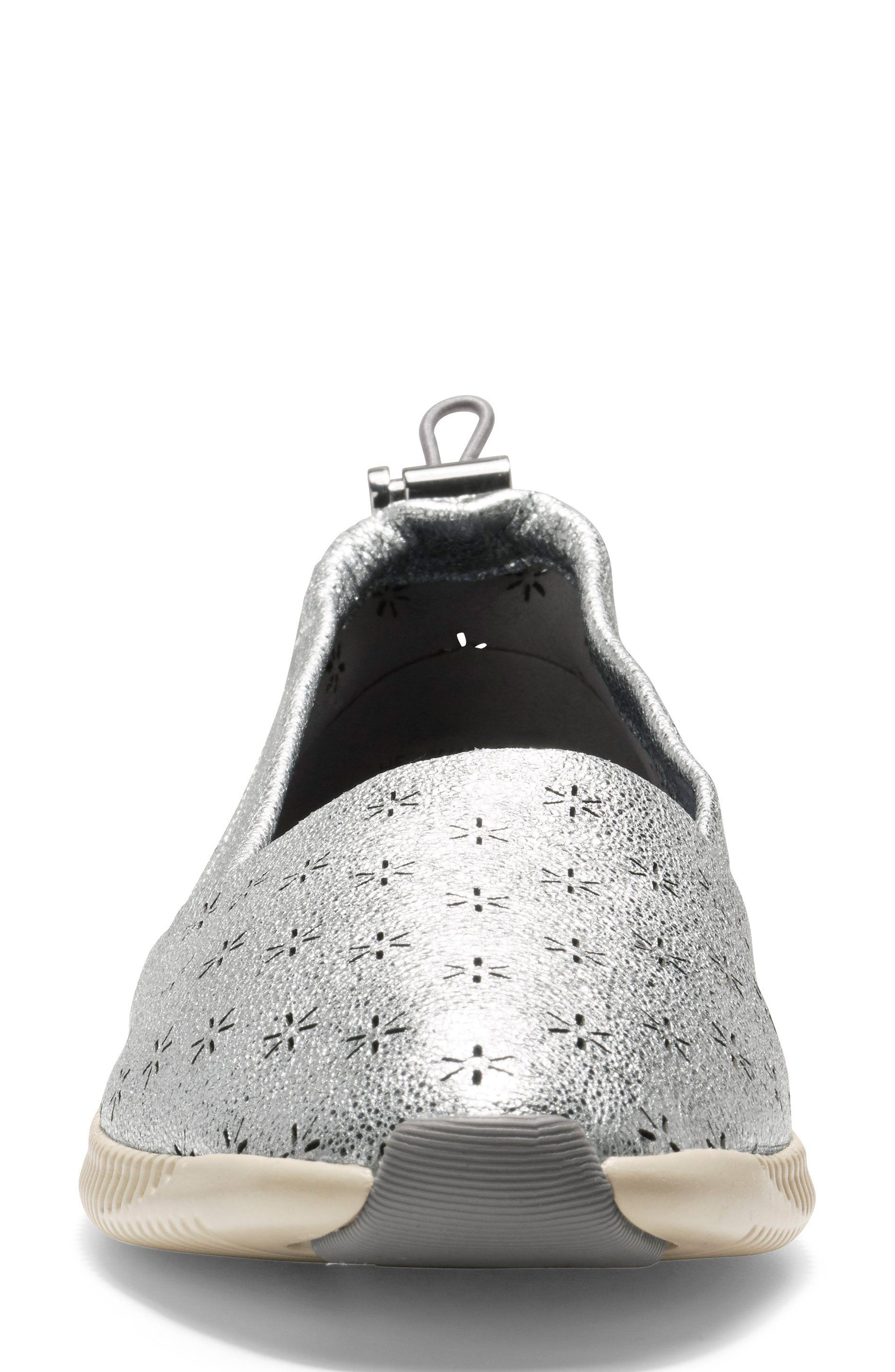 Studiogrand Perforated Slip-on,                             Alternate thumbnail 4, color,                             SILVER LEATHER