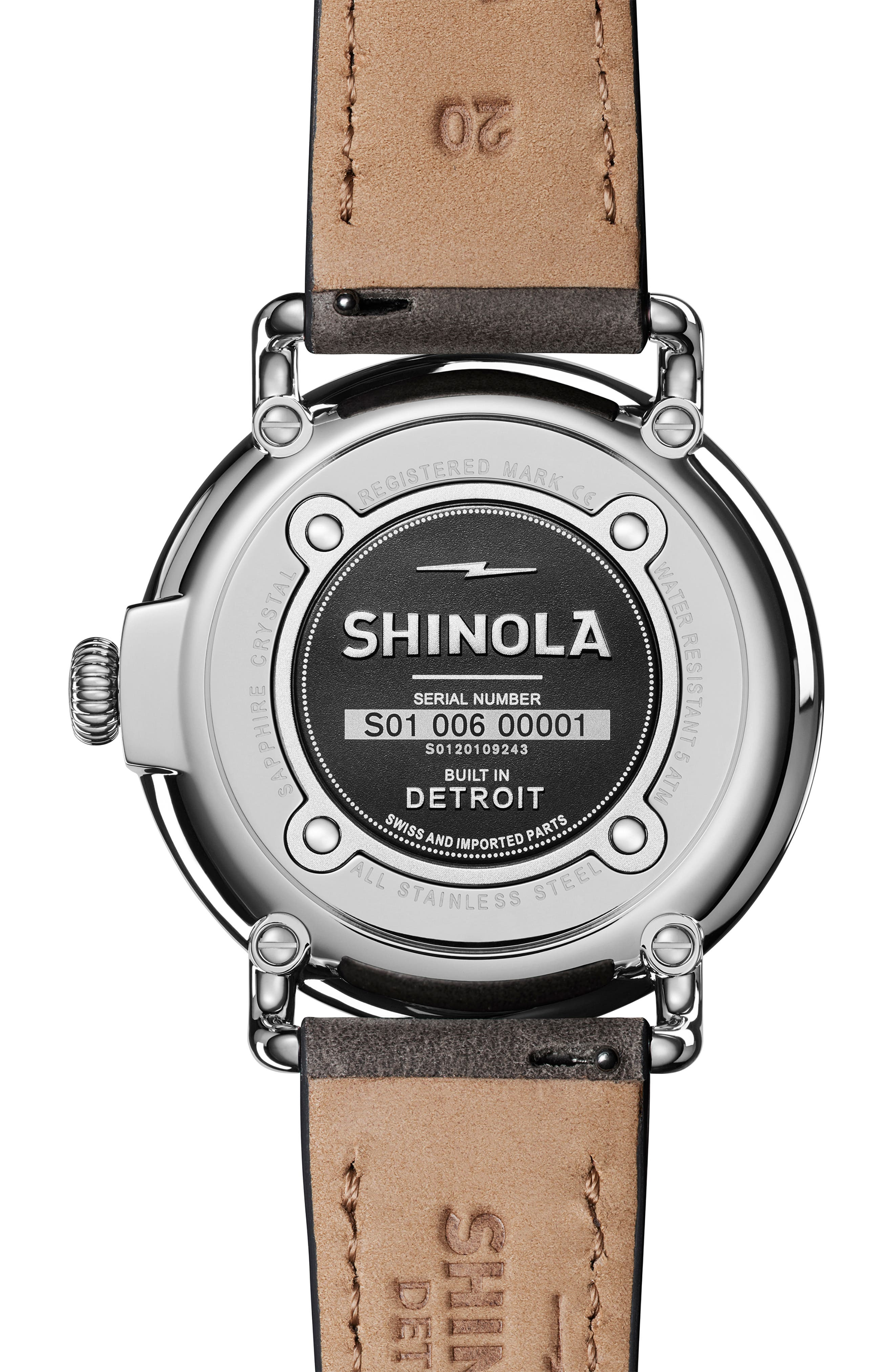 'The Runwell' Leather Strap Watch, 41mm,                             Alternate thumbnail 2, color,                             HEATHER GREY/ MOP/ SILVER