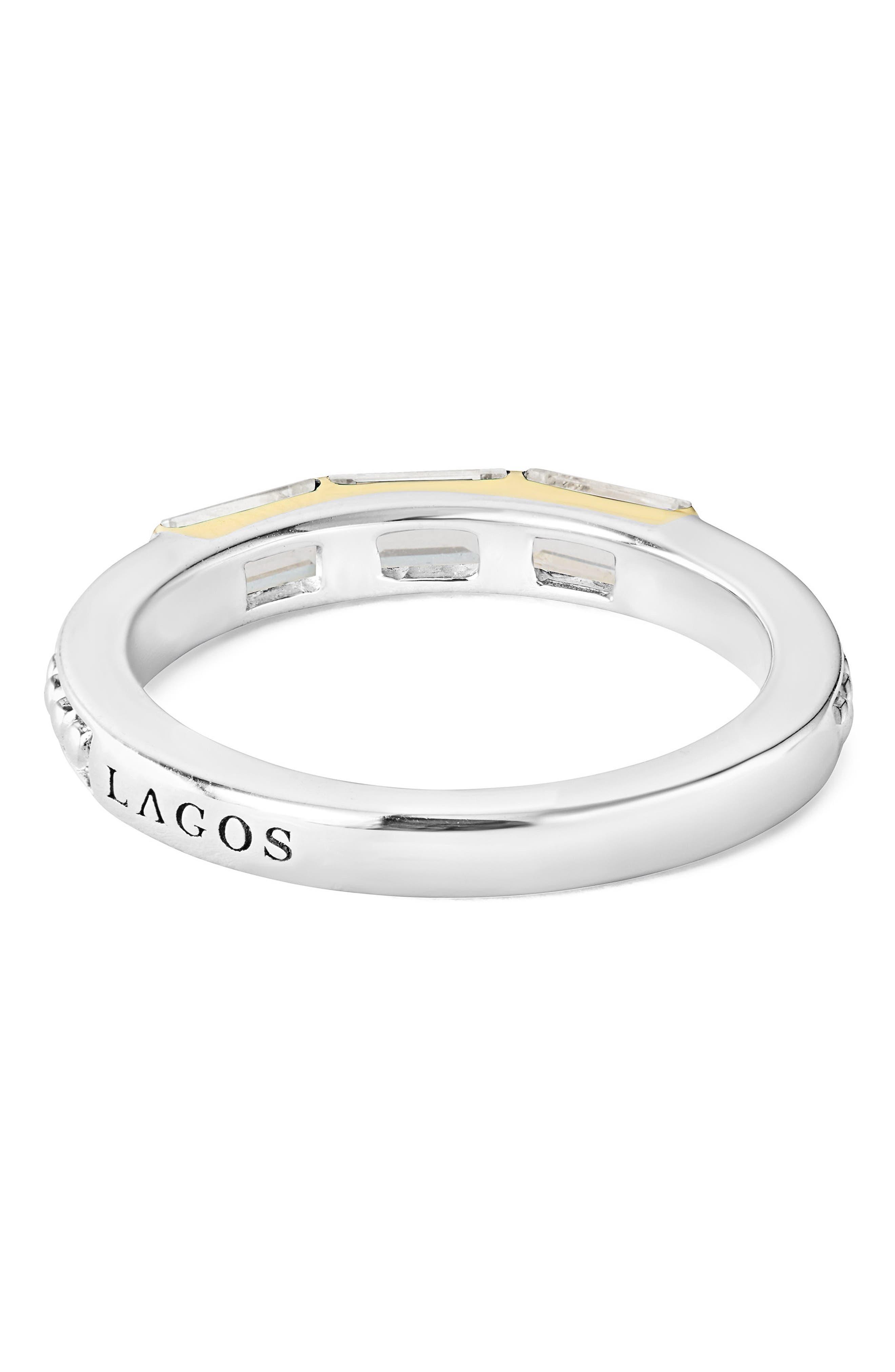 Gemstone Baguette Stackable Ring,                             Alternate thumbnail 3, color,                             SILVER/ 18K GOLD/ WHITE TOPAZ