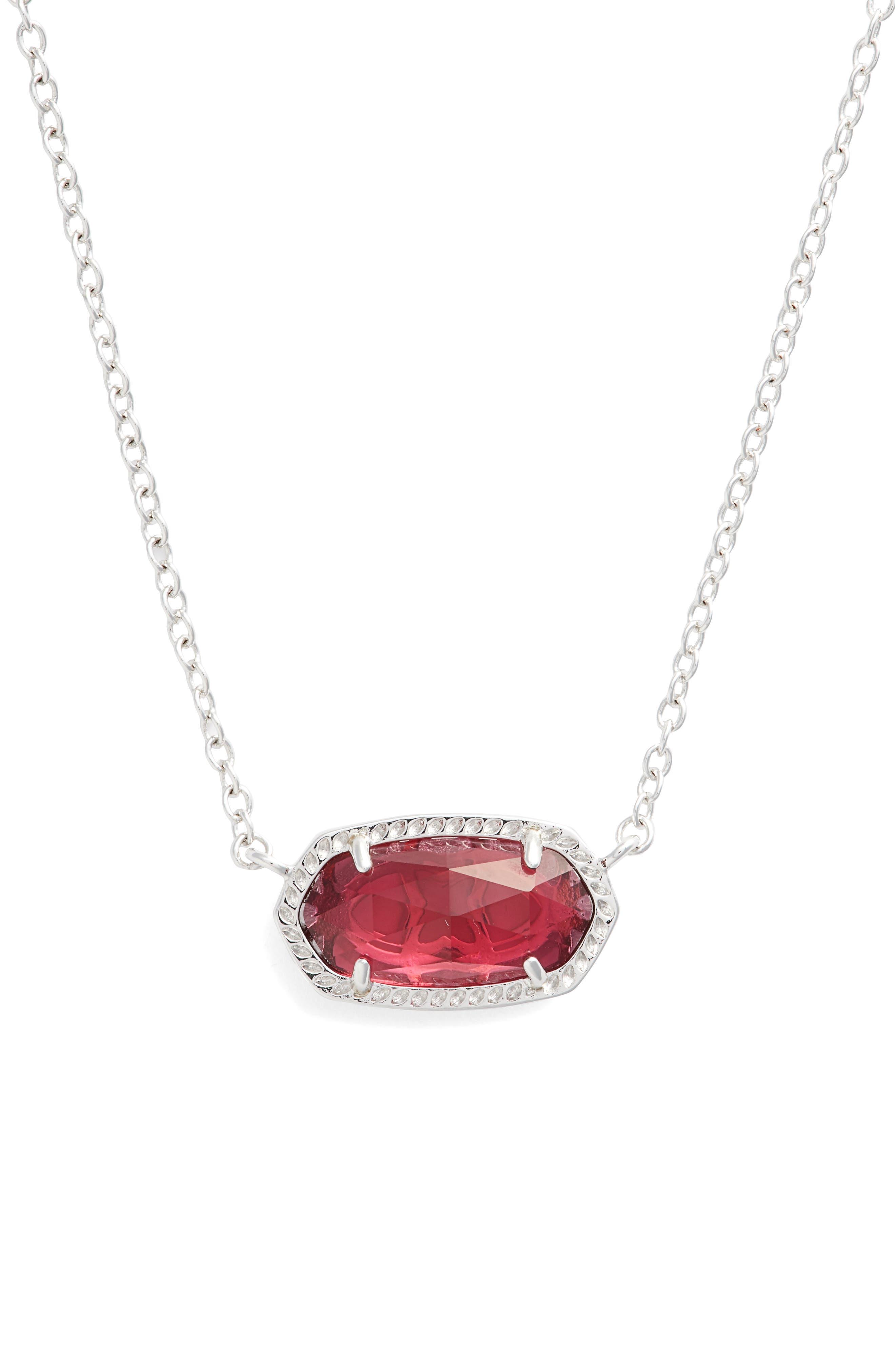 KENDRA SCOTT Elisa Birthstone Pendant Necklace, Main, color, JANUARY/BERRY/SILVER