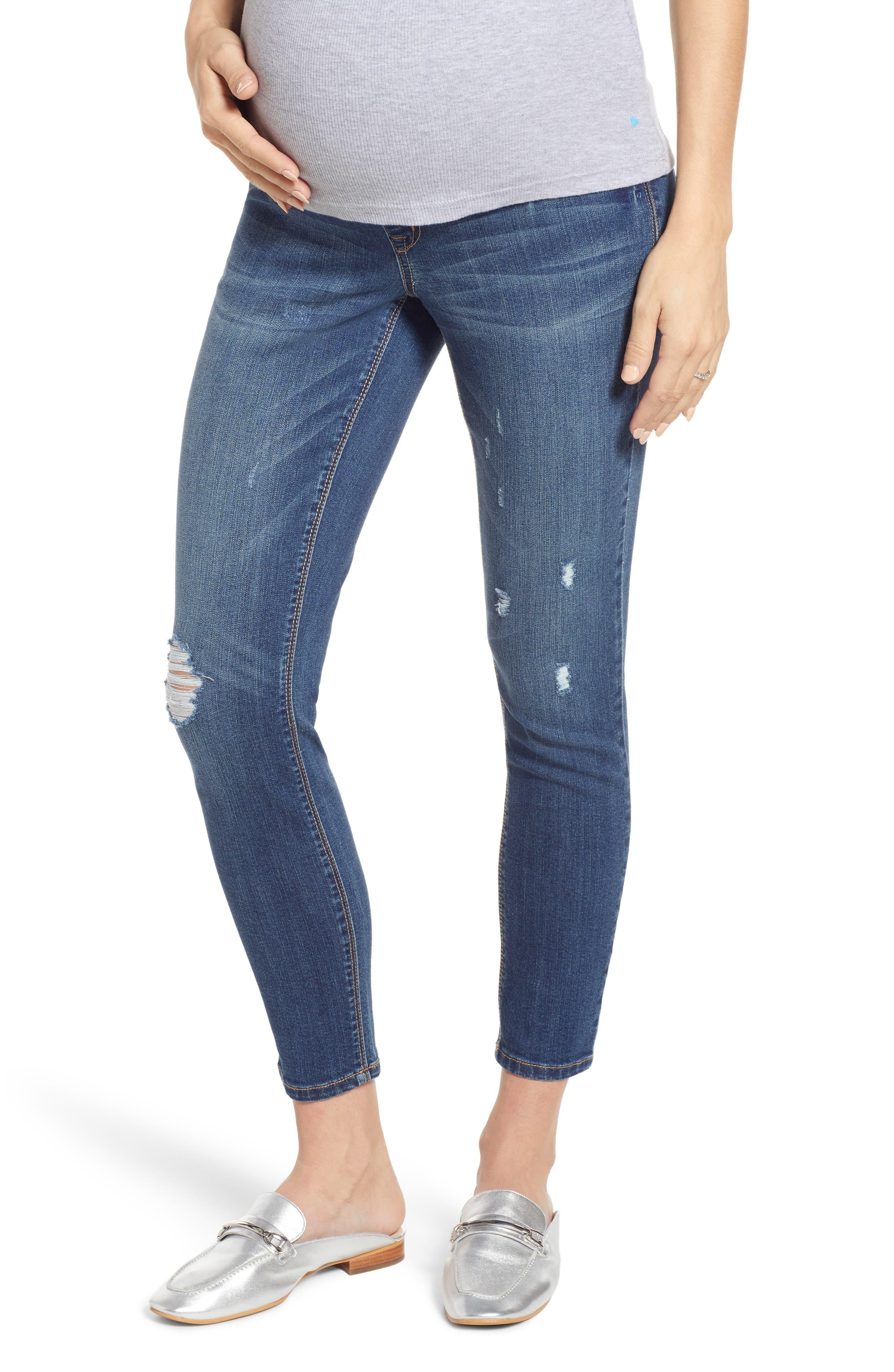 Women's 1822 Denim Distressed Maternity Ankle Skinny Jeans