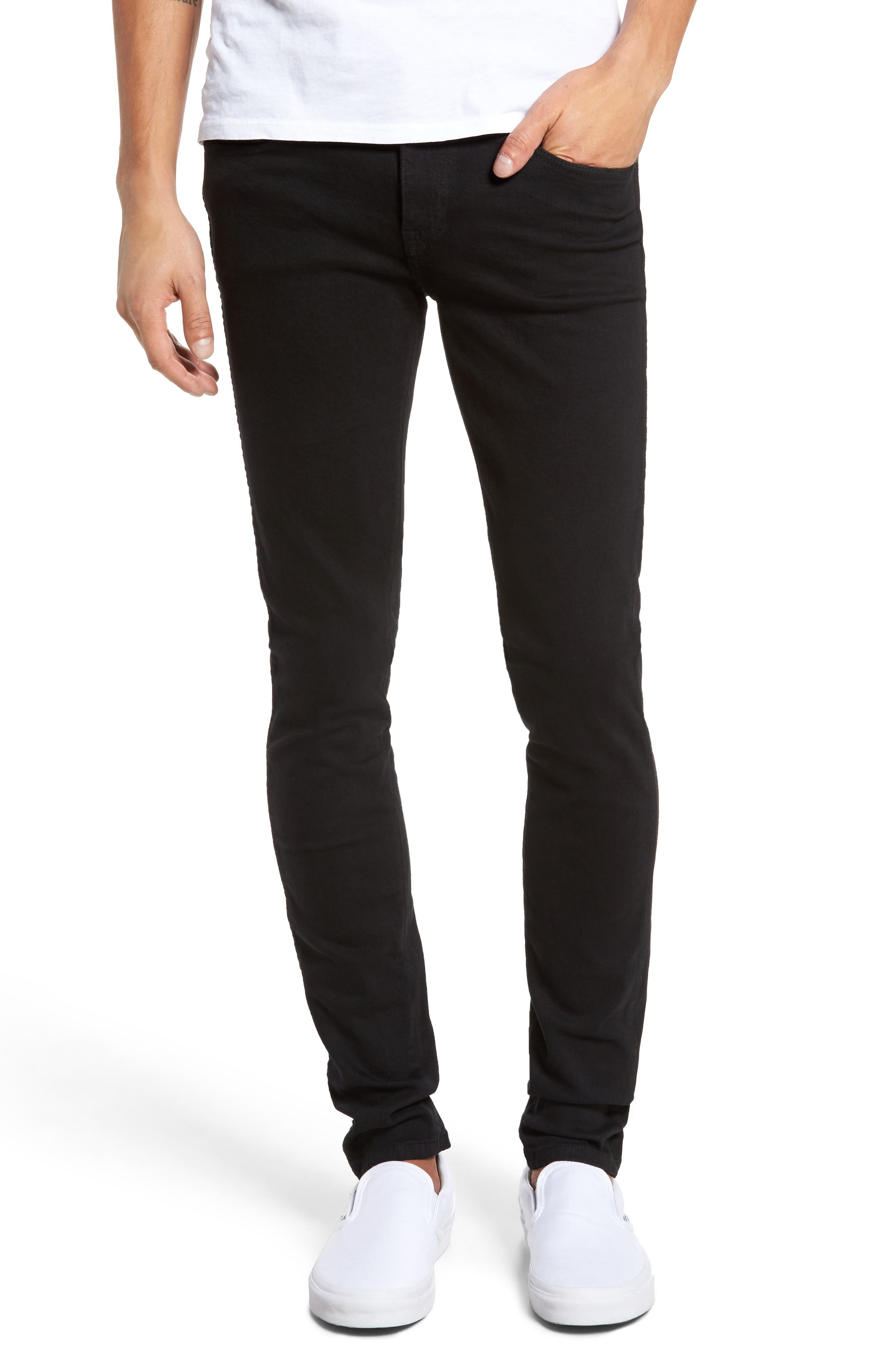 Snap Skinny Fit Jeans,                             Main thumbnail 1, color,                             BLACK