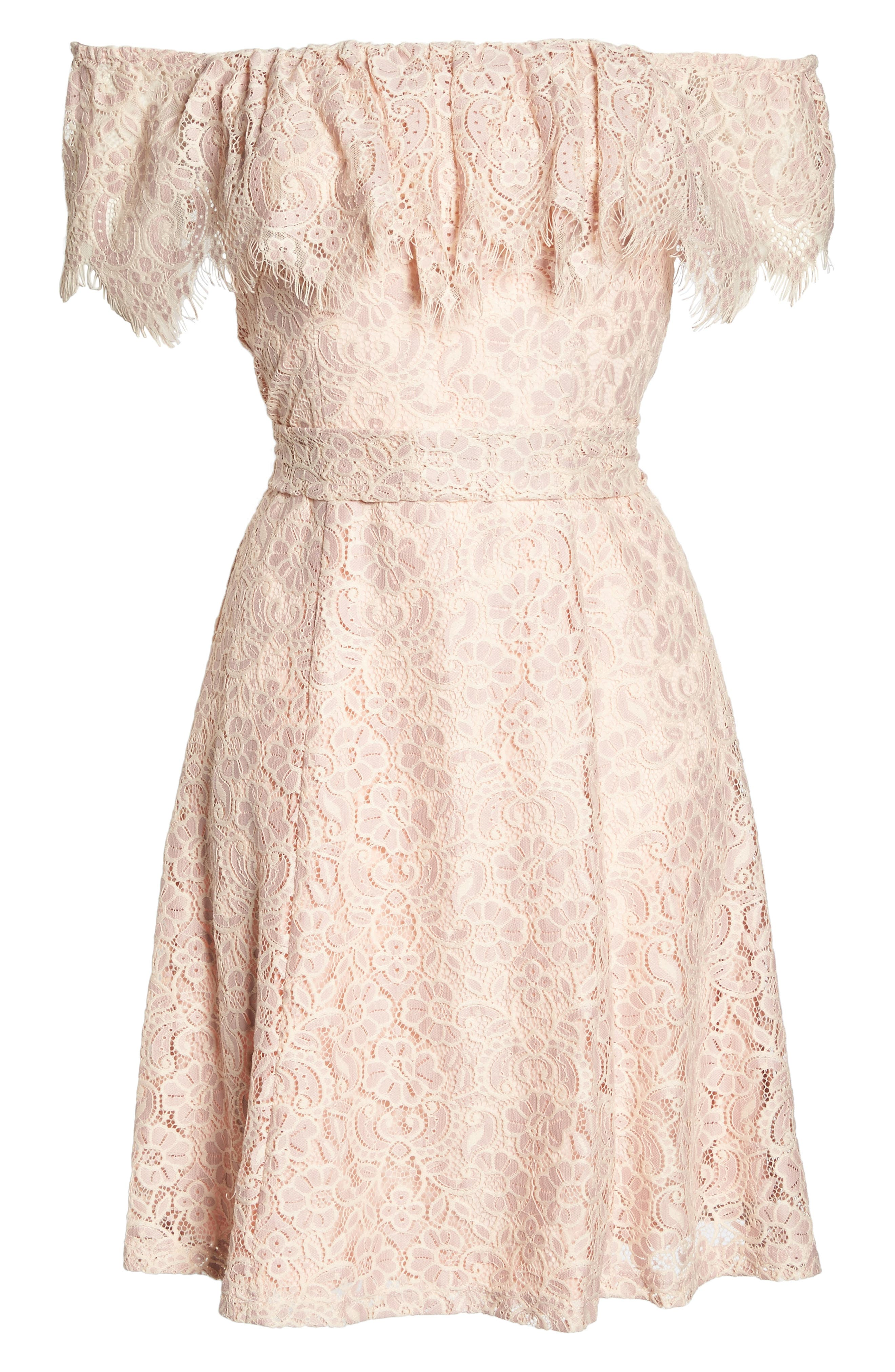 Off the Shoulder Lace Dress,                             Alternate thumbnail 6, color,                             DUSTY PINK