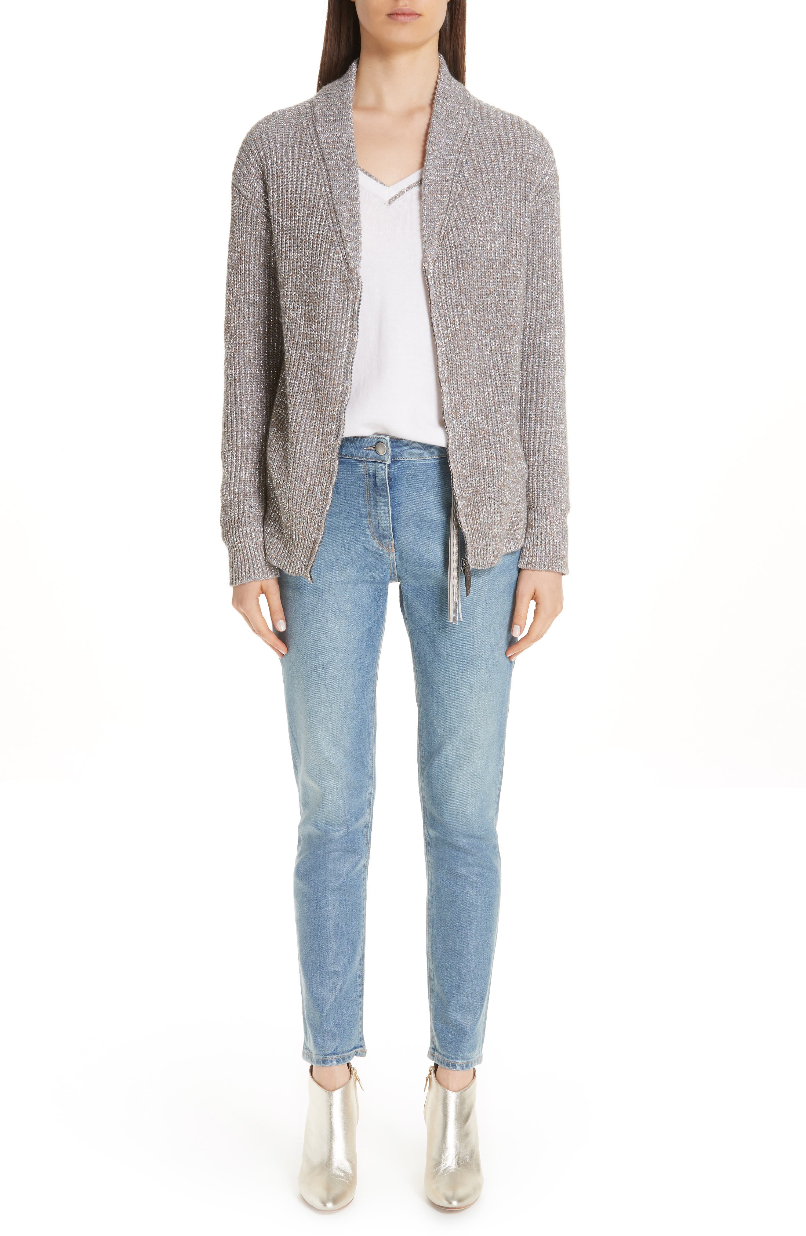 Coated Skinny Jeans with Tassel Charm,                         Main,                         color, BLUE