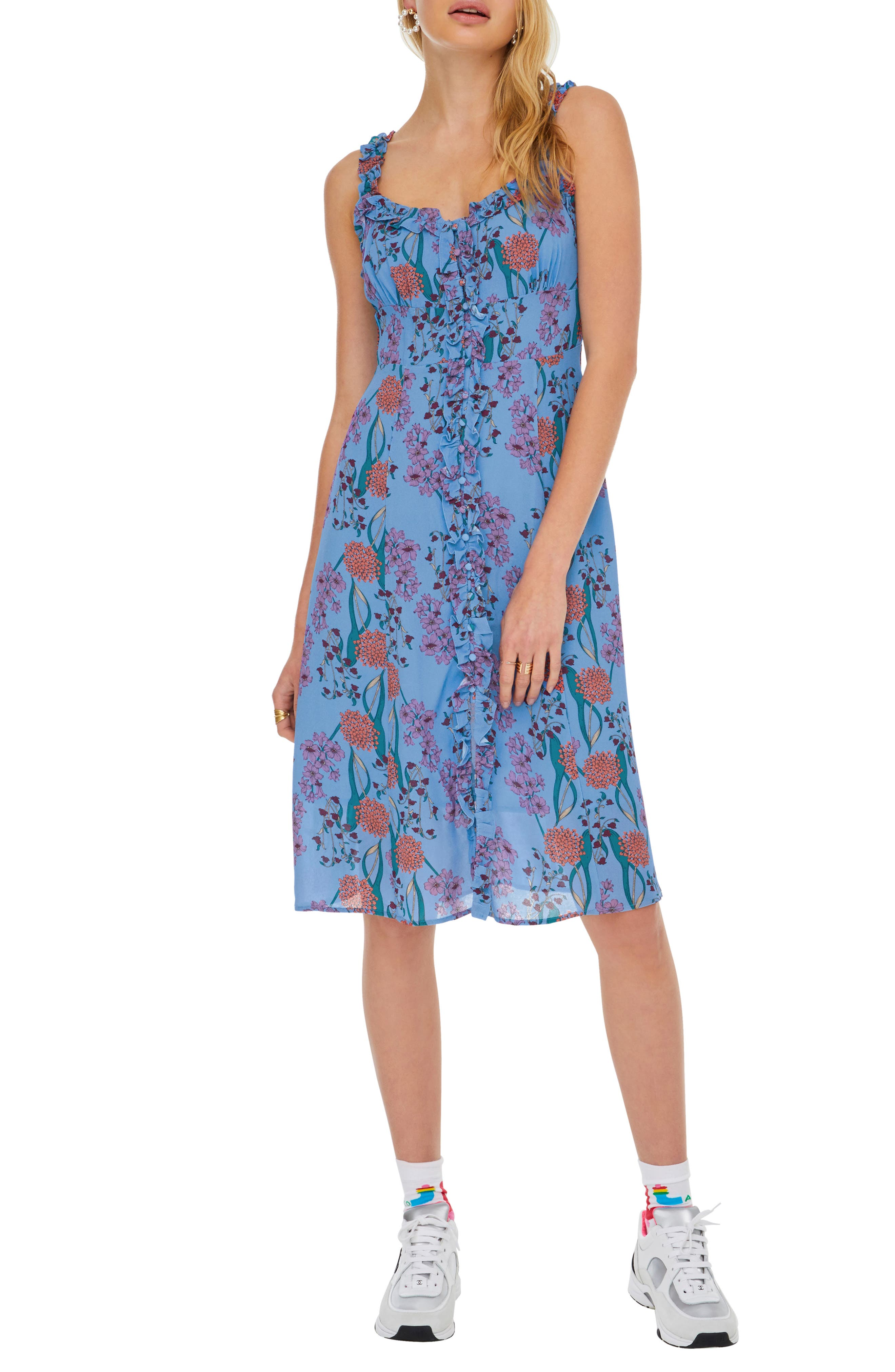 Astr The Label Blended A-Line Dress, Blue