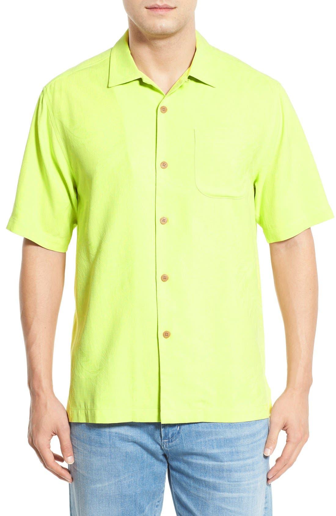 Rio Fronds Short Sleeve Silk Sport Shirt,                             Main thumbnail 4, color,