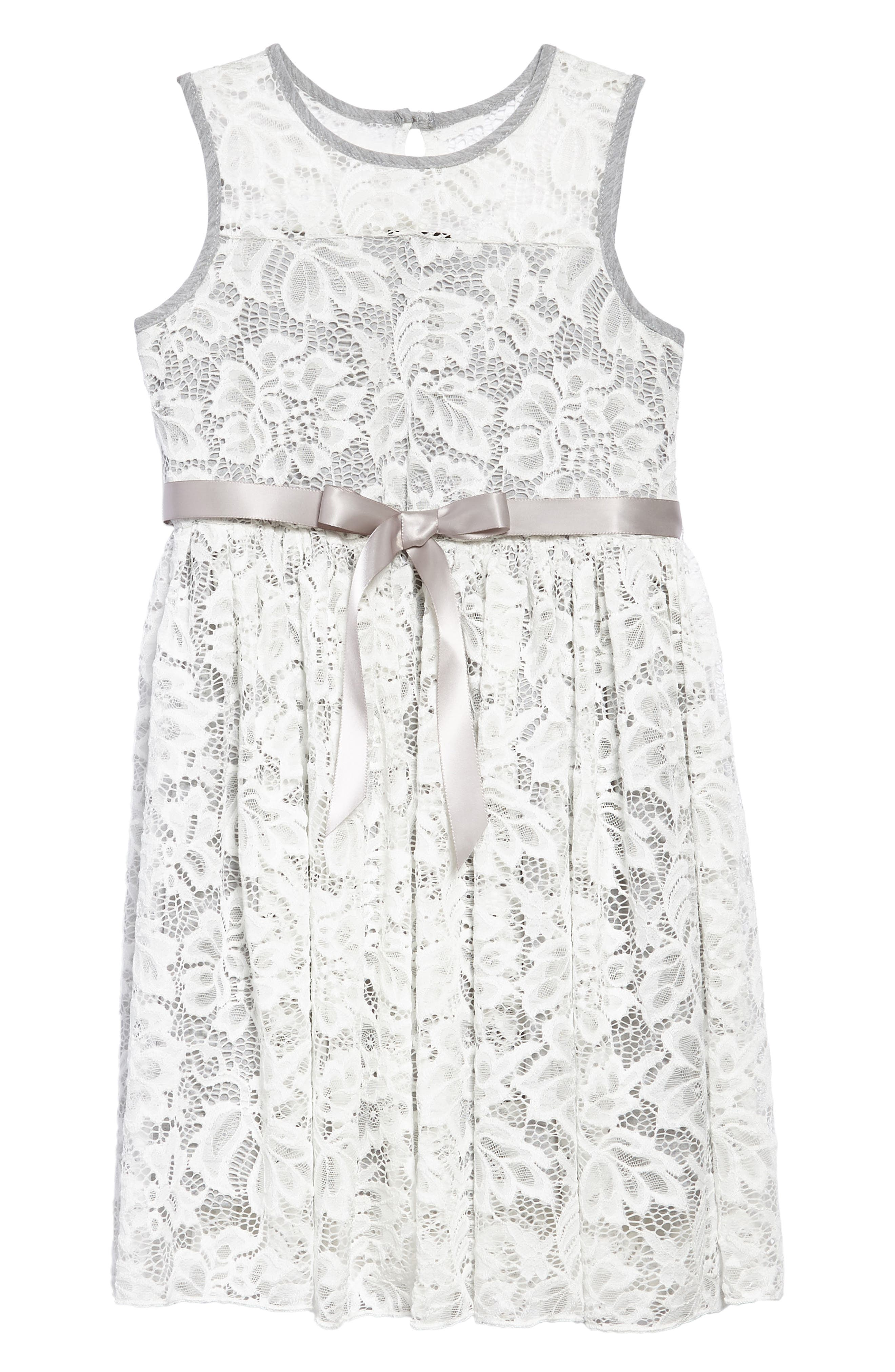 Sleeveless Floral Lace Dress,                             Main thumbnail 2, color,