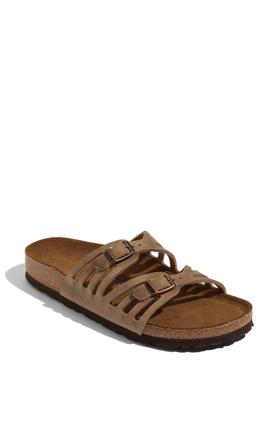 Granada Soft Footbed Oiled Leather Sandal,                             Main thumbnail 1, color,                             TOBACCO