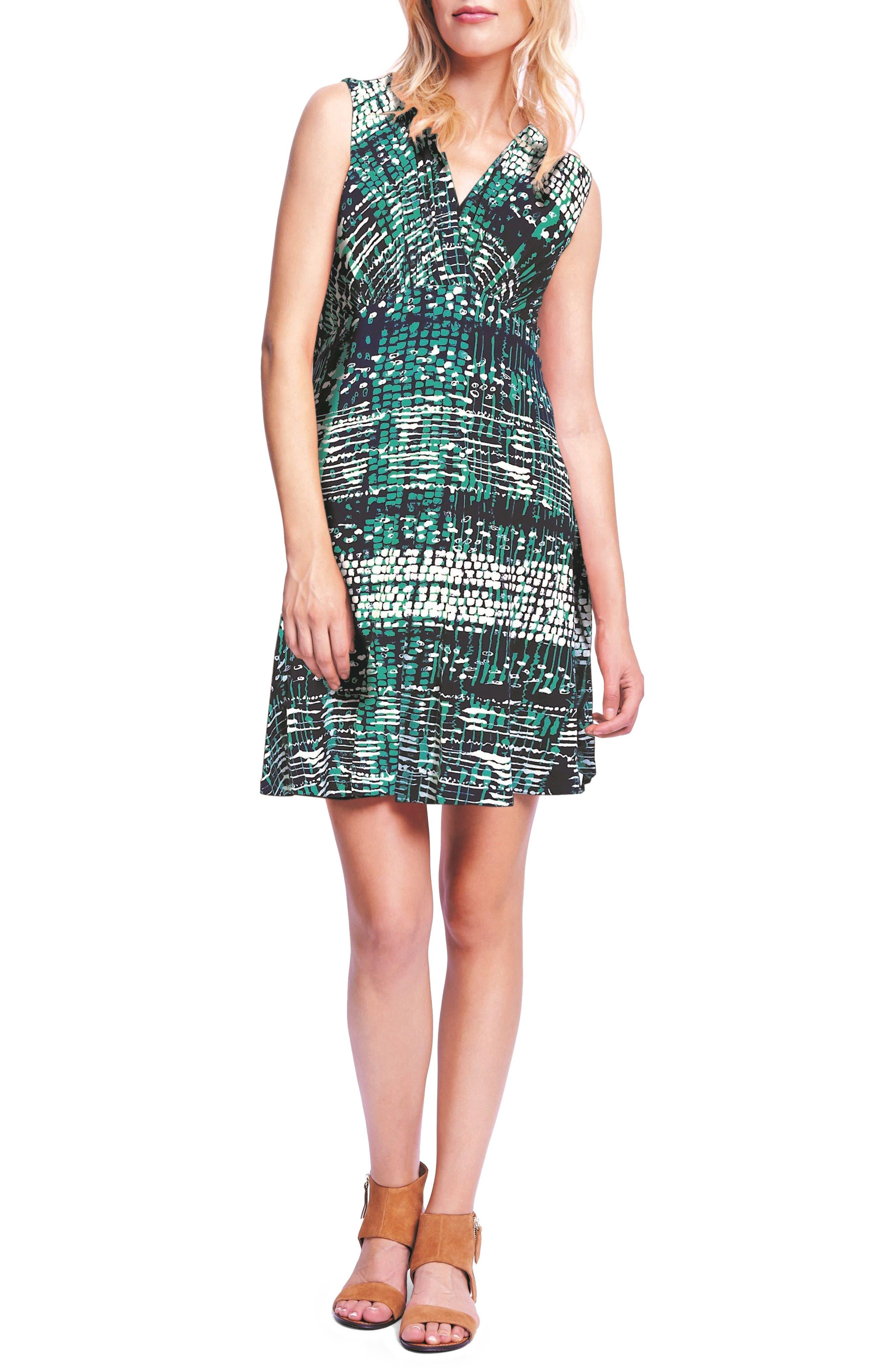 MATERNAL AMERICA Tie Front Maternity Dress, Main, color, NAVY ATLANTIS