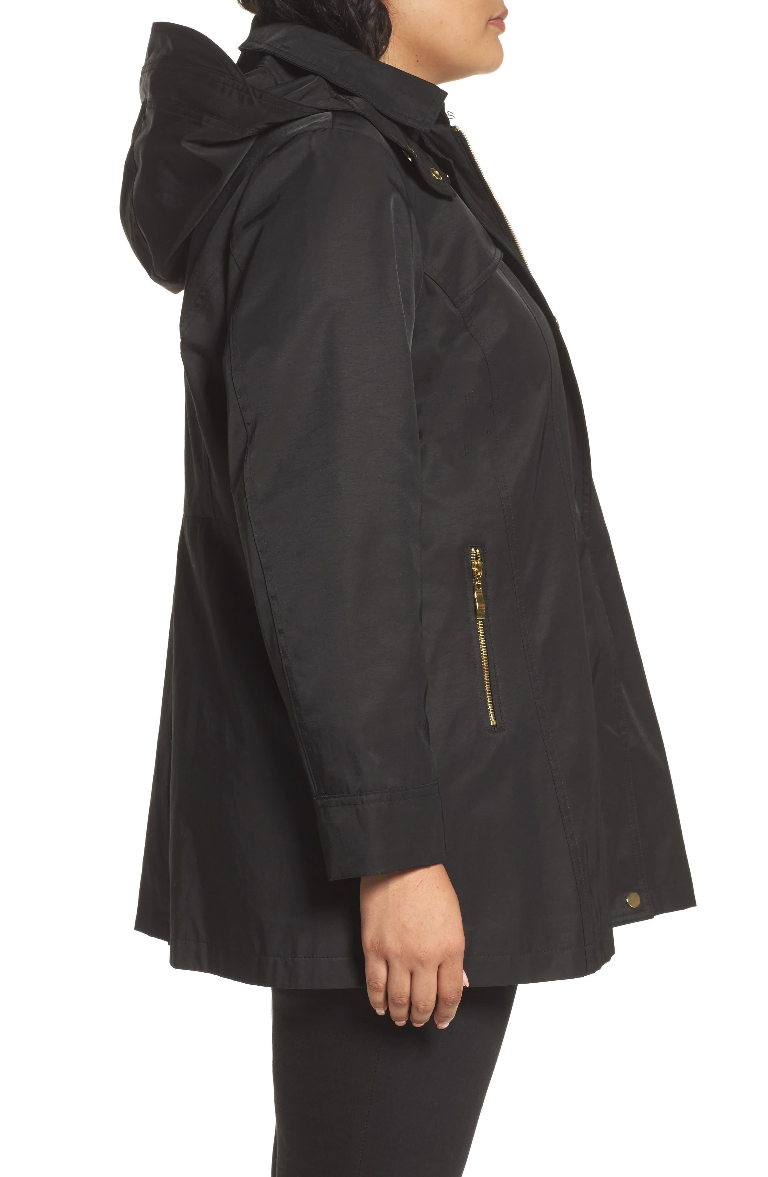 Packable Fit & Flare Raincoat,                             Alternate thumbnail 3, color,                             BLACK