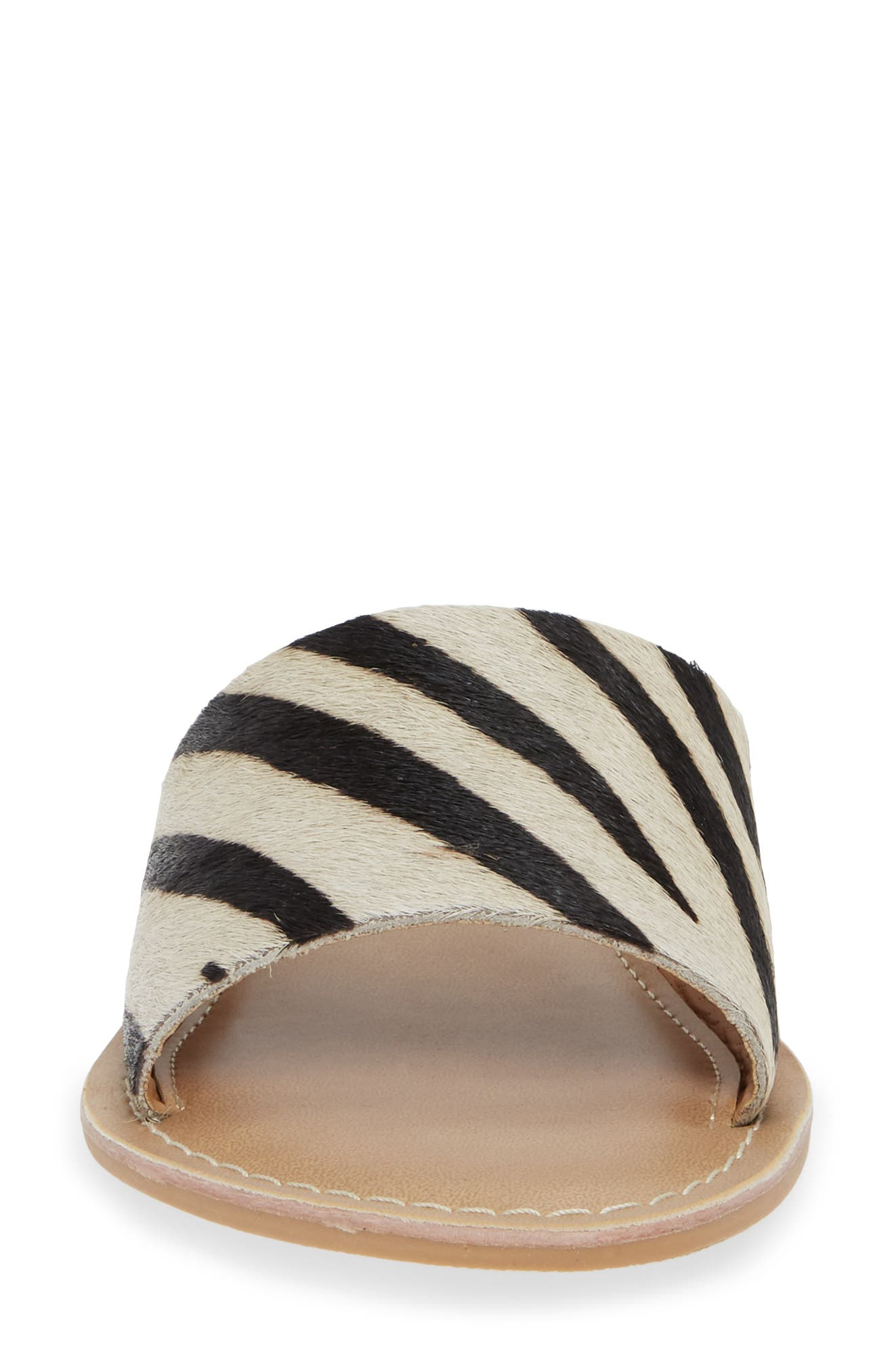 Cabana Genuine Calf Hair Slide Sandal,                             Alternate thumbnail 4, color,                             ZEBRA PRINT CALF HAIR