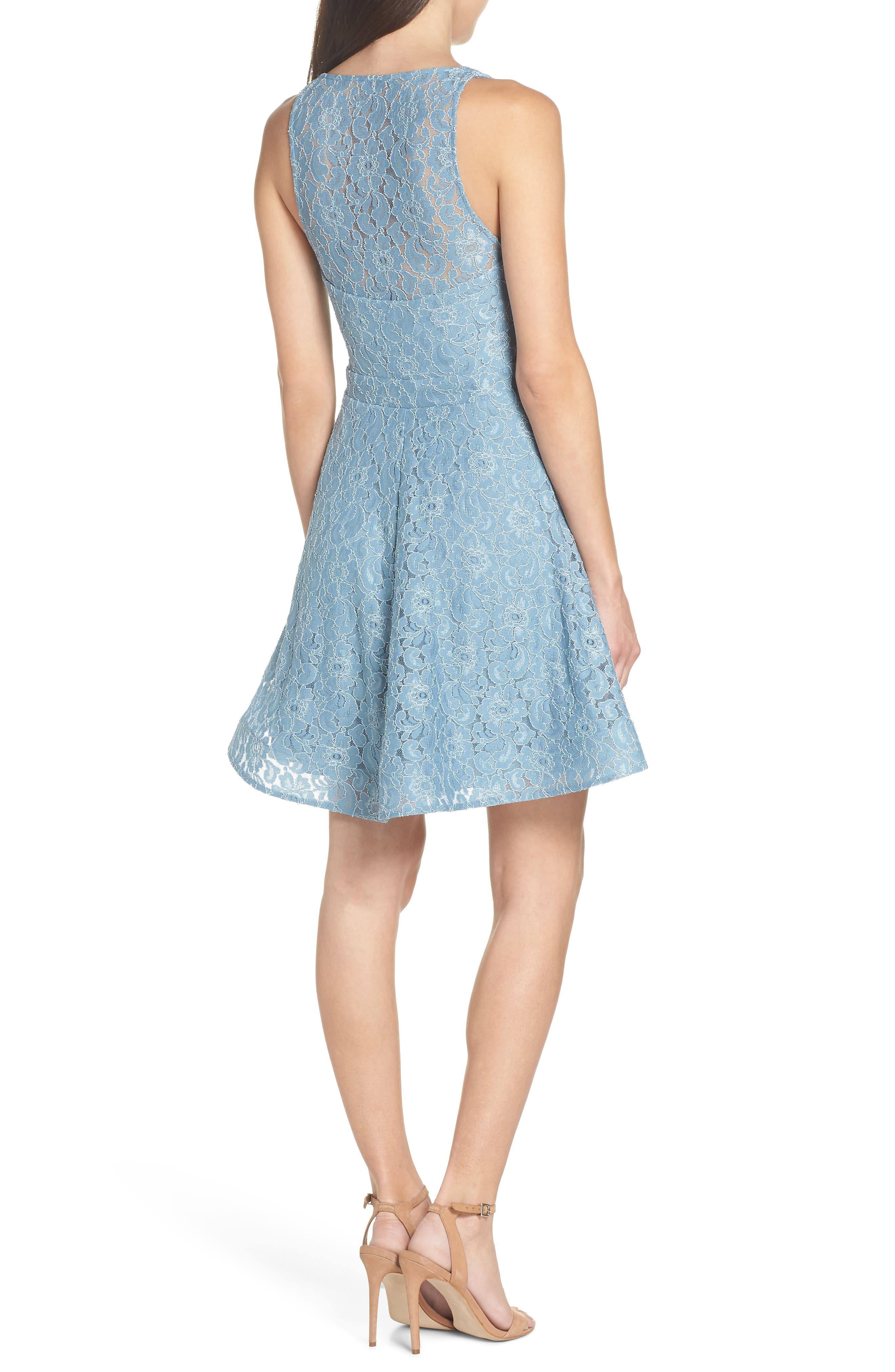 Notch Front Lace Fit & Flare Dress,                             Alternate thumbnail 2, color,                             BLUE