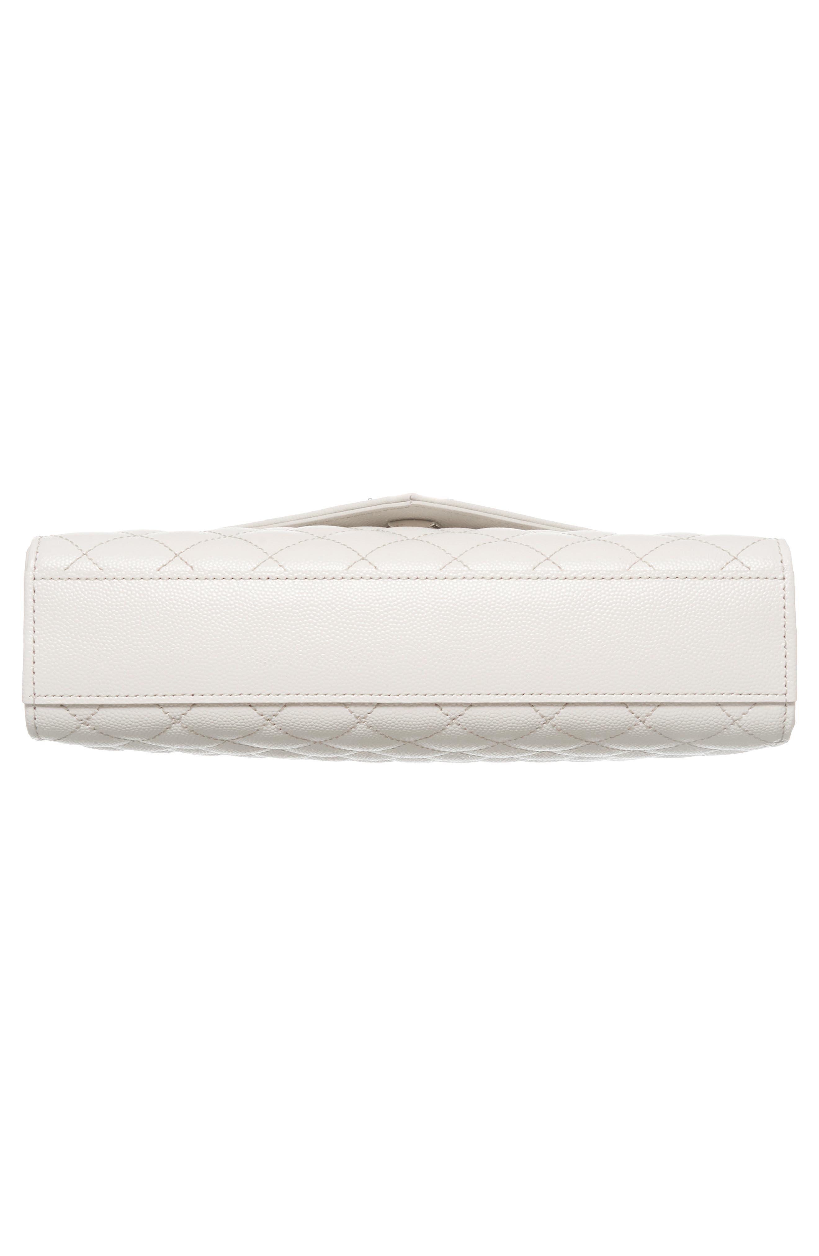 Medium Cassandra Calfskin Shoulder Bag,                             Alternate thumbnail 6, color,                             ICY WHITE/ ICY WHITE