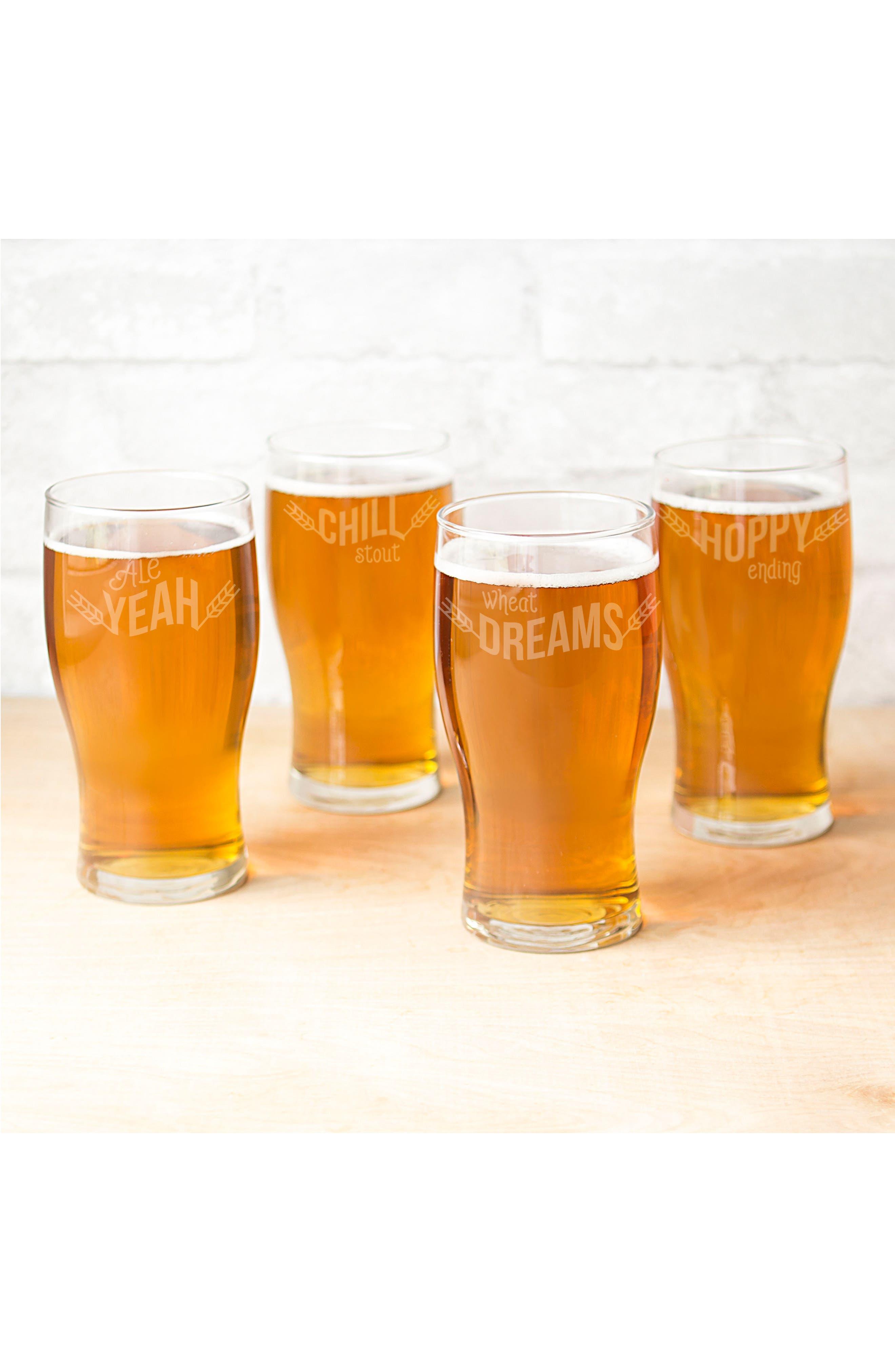 Beer Pun Set of 4 Pilsner Glasses,                             Alternate thumbnail 2, color,                             100