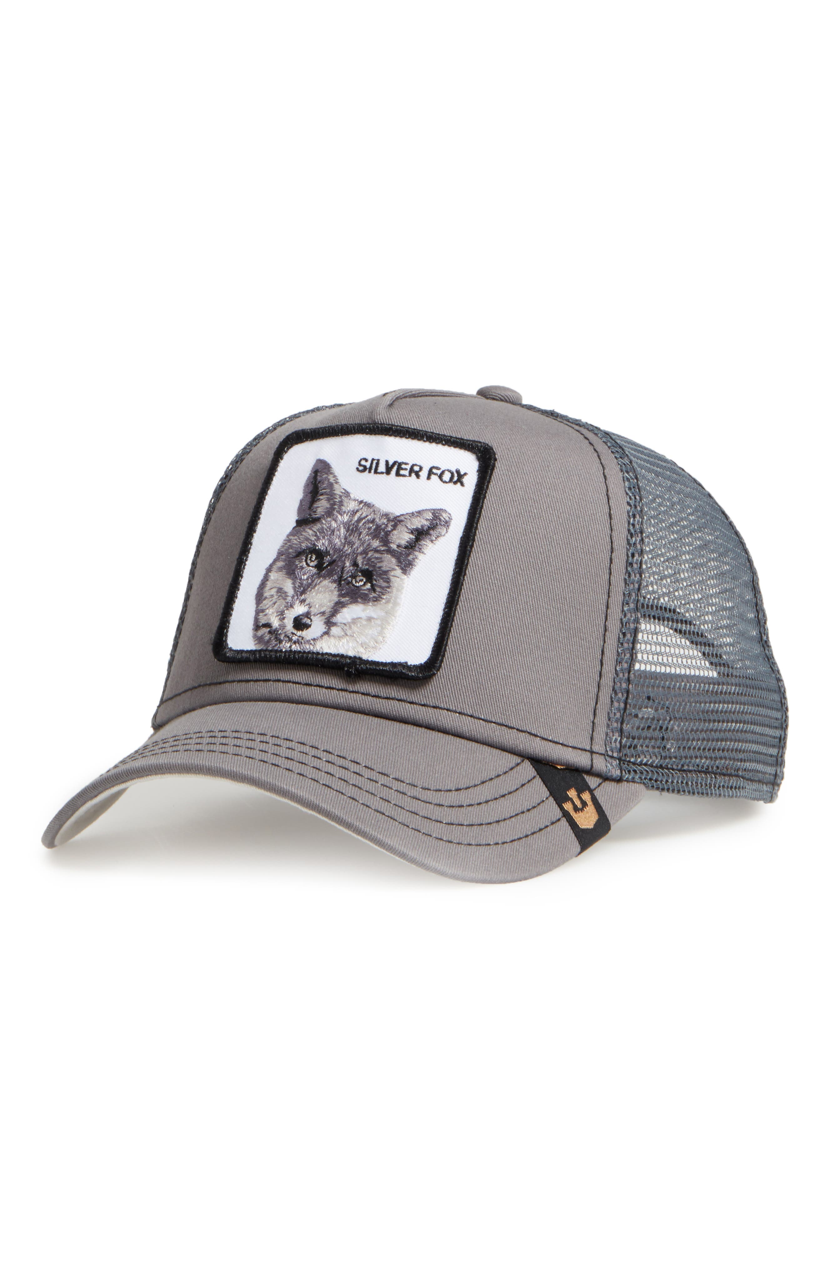 'Silver Fox' Trucker Hat,                             Main thumbnail 1, color,                             CHARCOAL