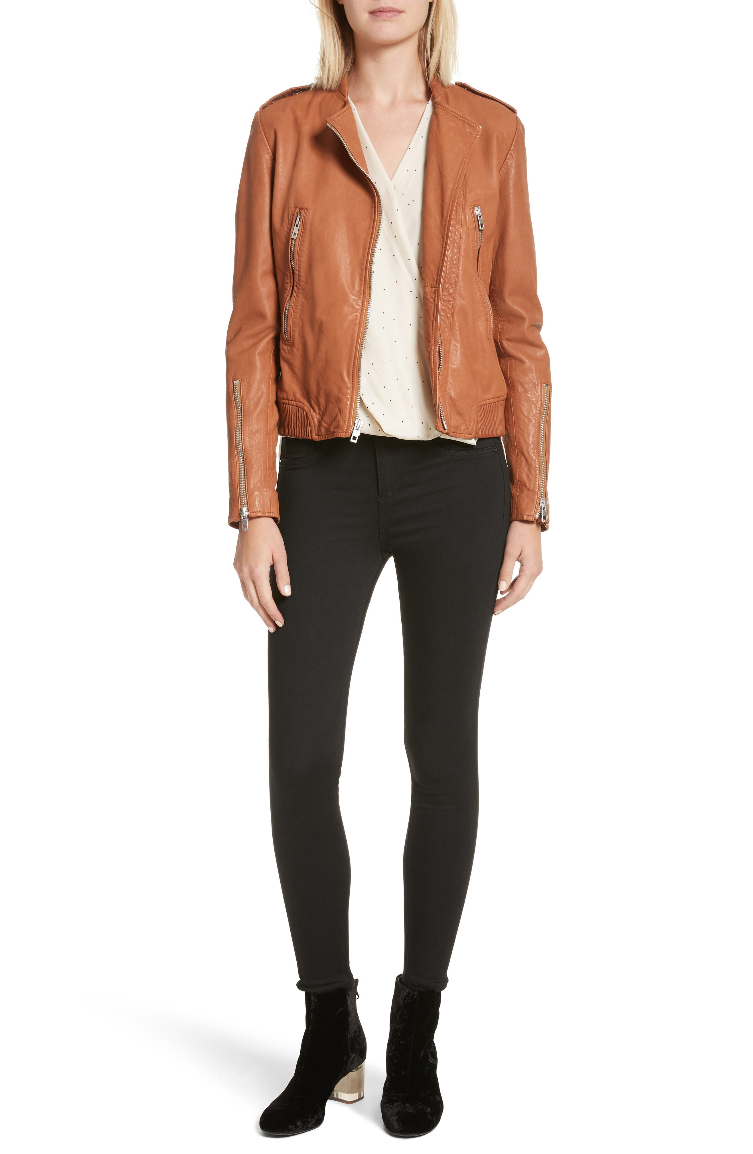 Lyon Leather Jacket,                             Alternate thumbnail 7, color,                             200