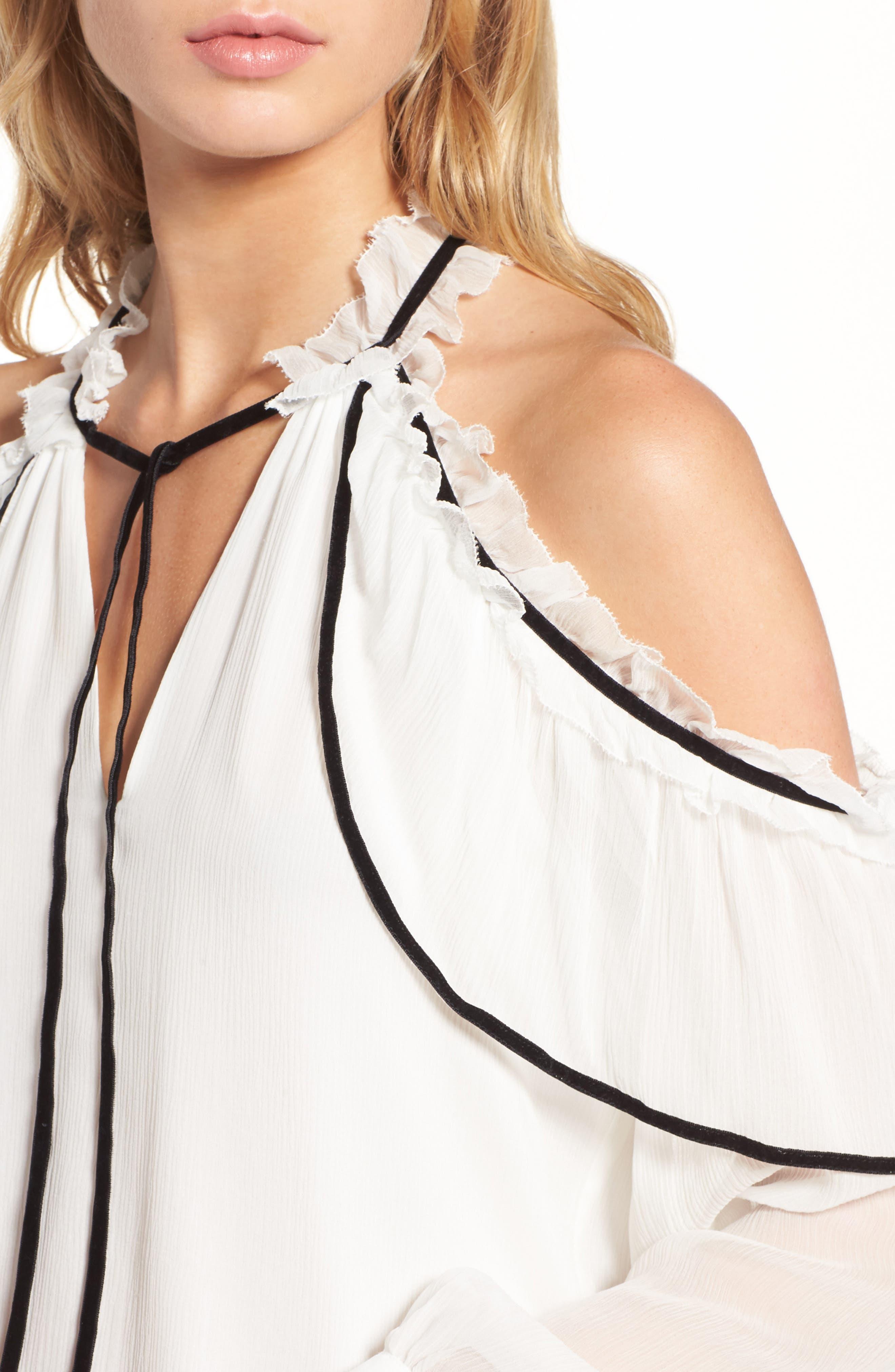 Ventura Cold Shoulder Silk Blouse,                             Alternate thumbnail 4, color,