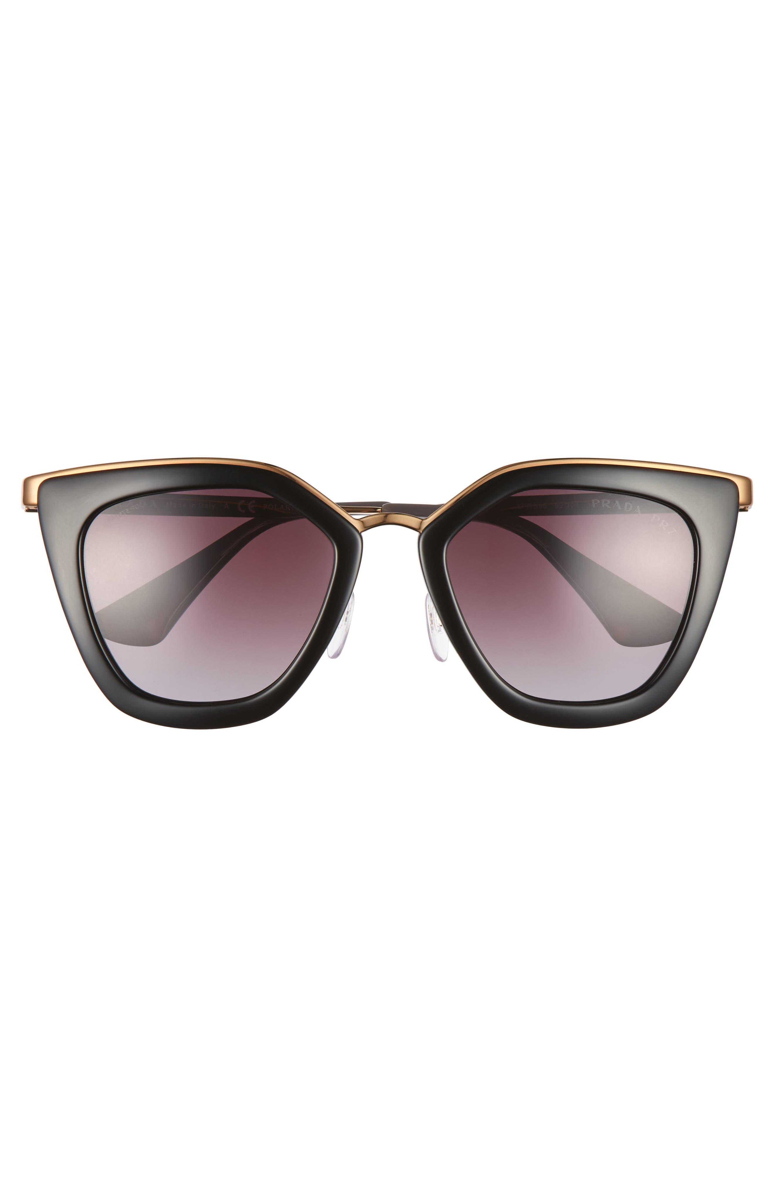 52mm Polarized Cat Eye Sunglasses,                             Alternate thumbnail 3, color,                             001