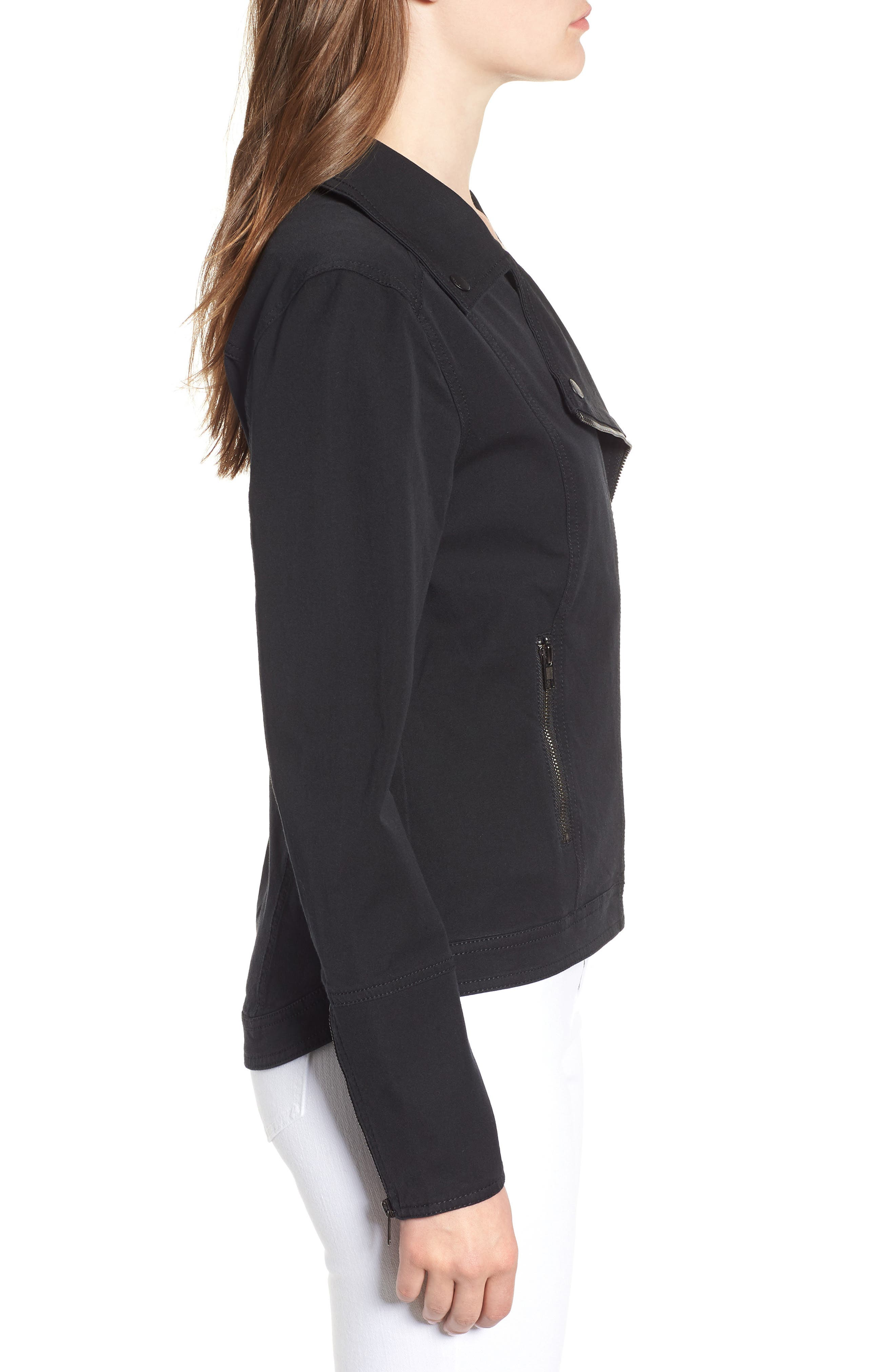 Stretch Cotton Moto Jacket,                             Alternate thumbnail 3, color,                             BLACK