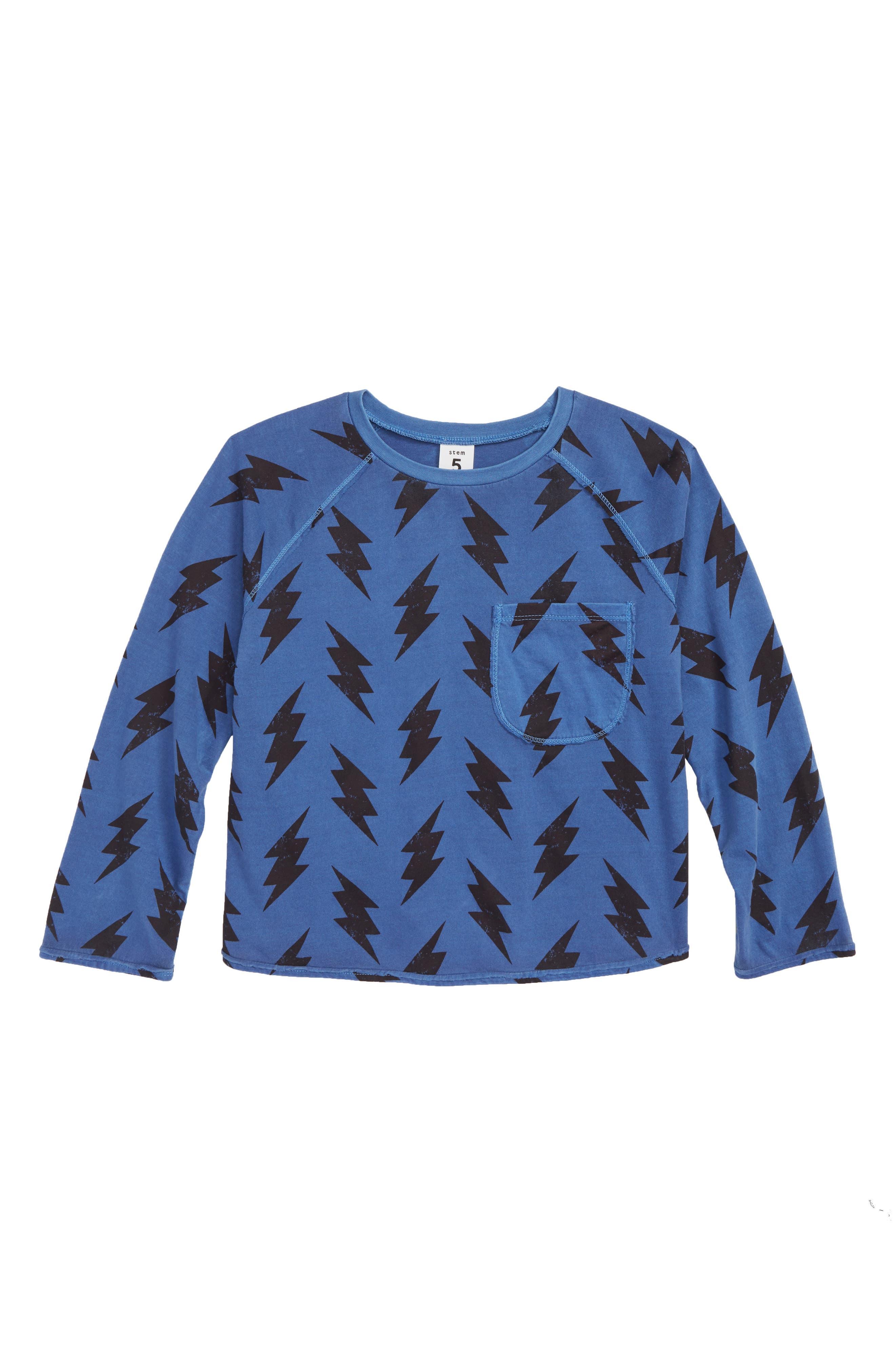Lightning Print T-Shirt,                             Main thumbnail 1, color,                             BLUE MAZARINE BOLTS