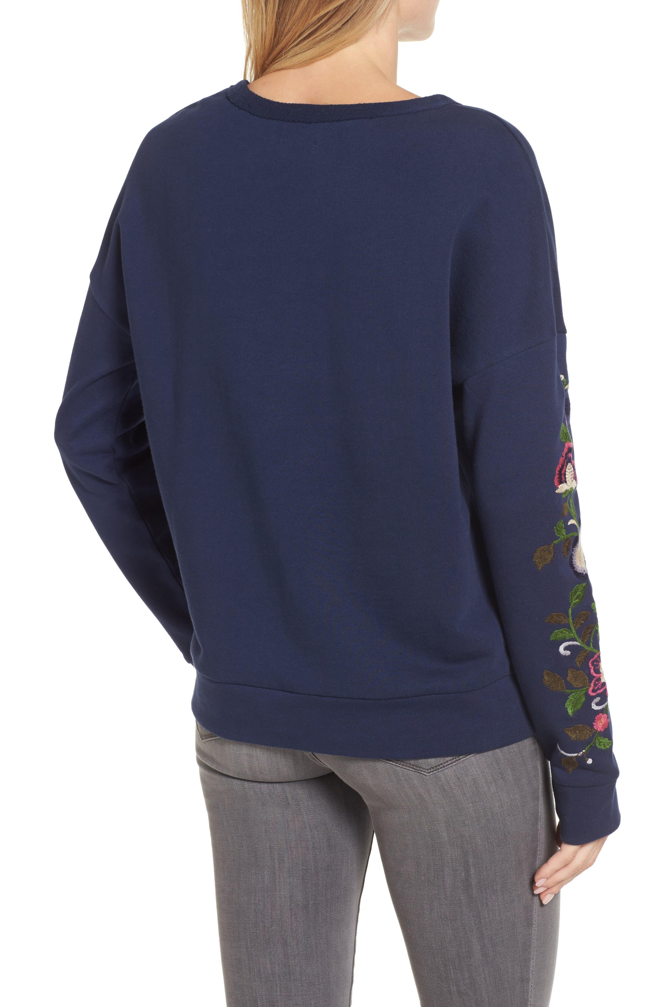 Embroidered Sleeve Sweatshirt,                             Alternate thumbnail 2, color,                             410