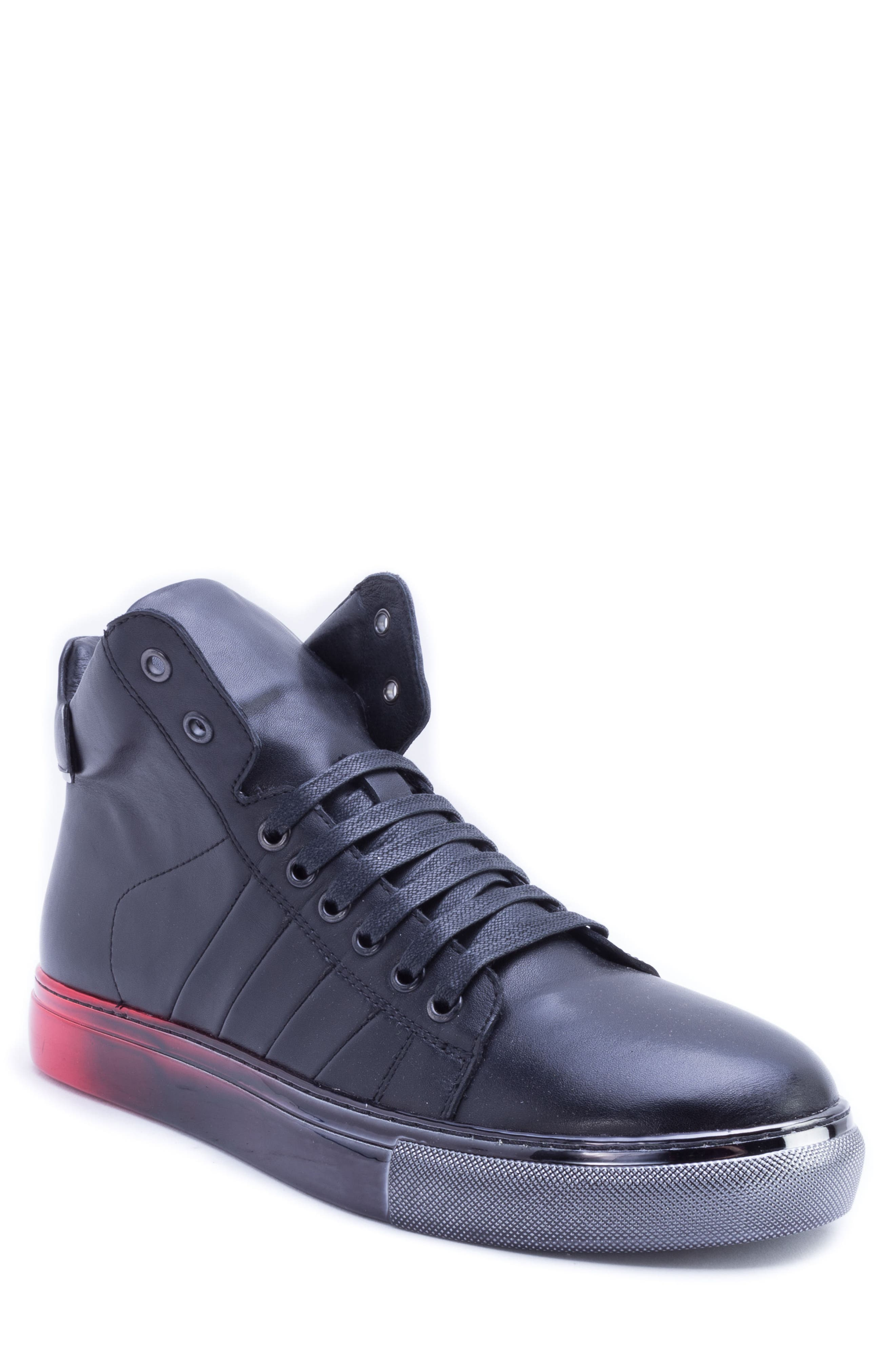 BADGLEY MISCHKA COLLECTION,                             Badgley Mischka Bronson Sneaker,                             Main thumbnail 1, color,                             BLACK LEATHER
