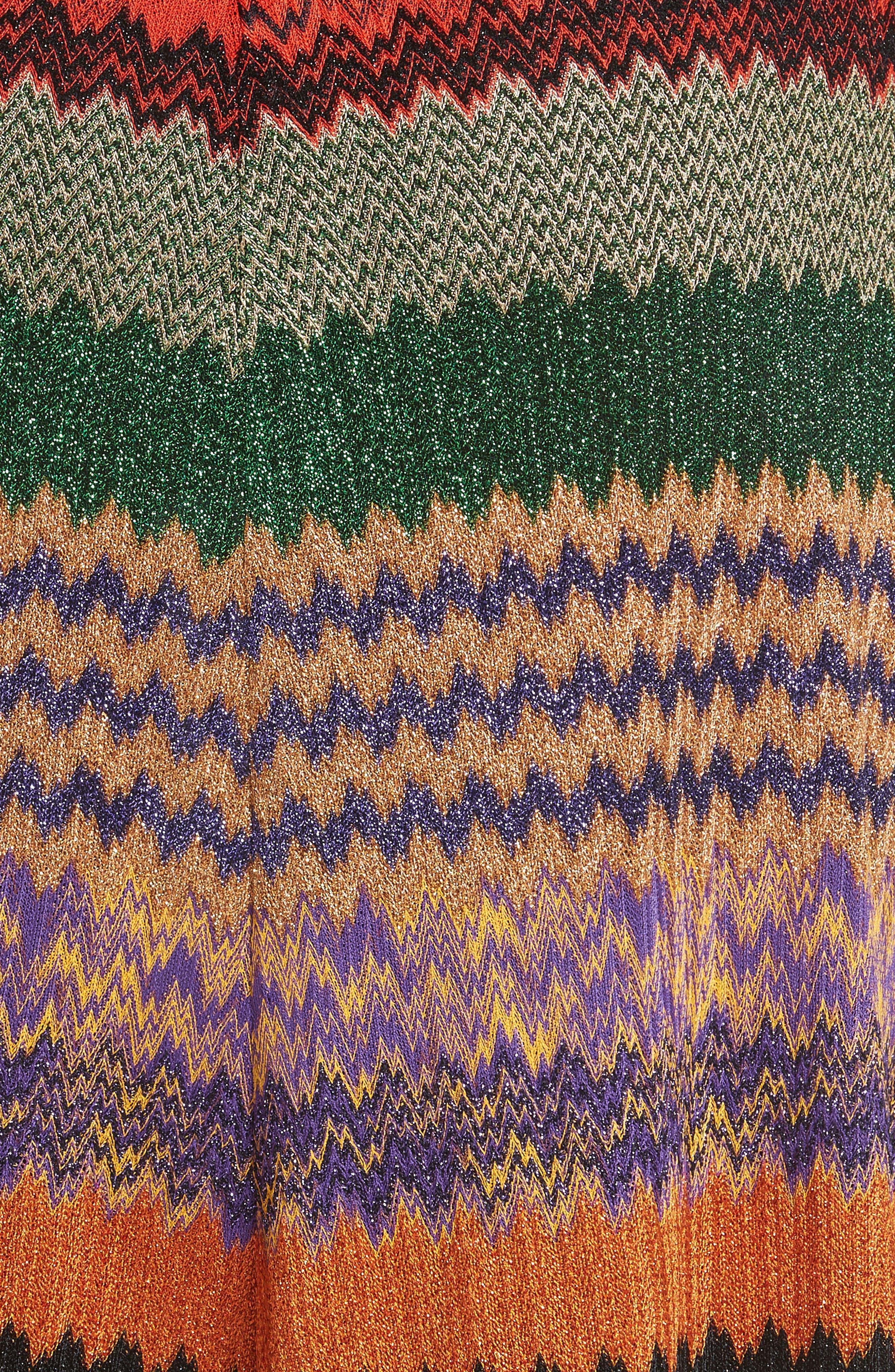Metallic Stripe Knit Midi Skirt,                             Alternate thumbnail 5, color,