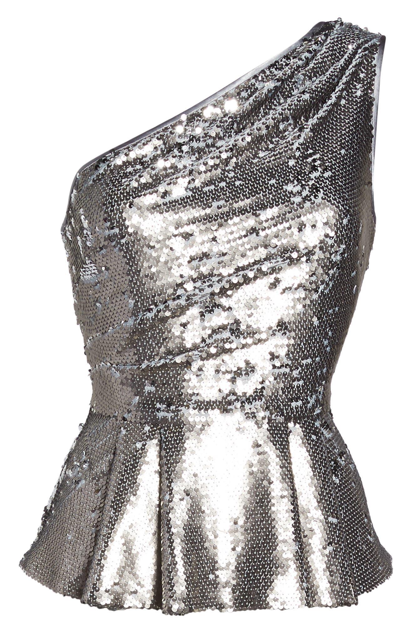 One-Shoulder Sequin Peplum Top,                             Alternate thumbnail 6, color,                             040