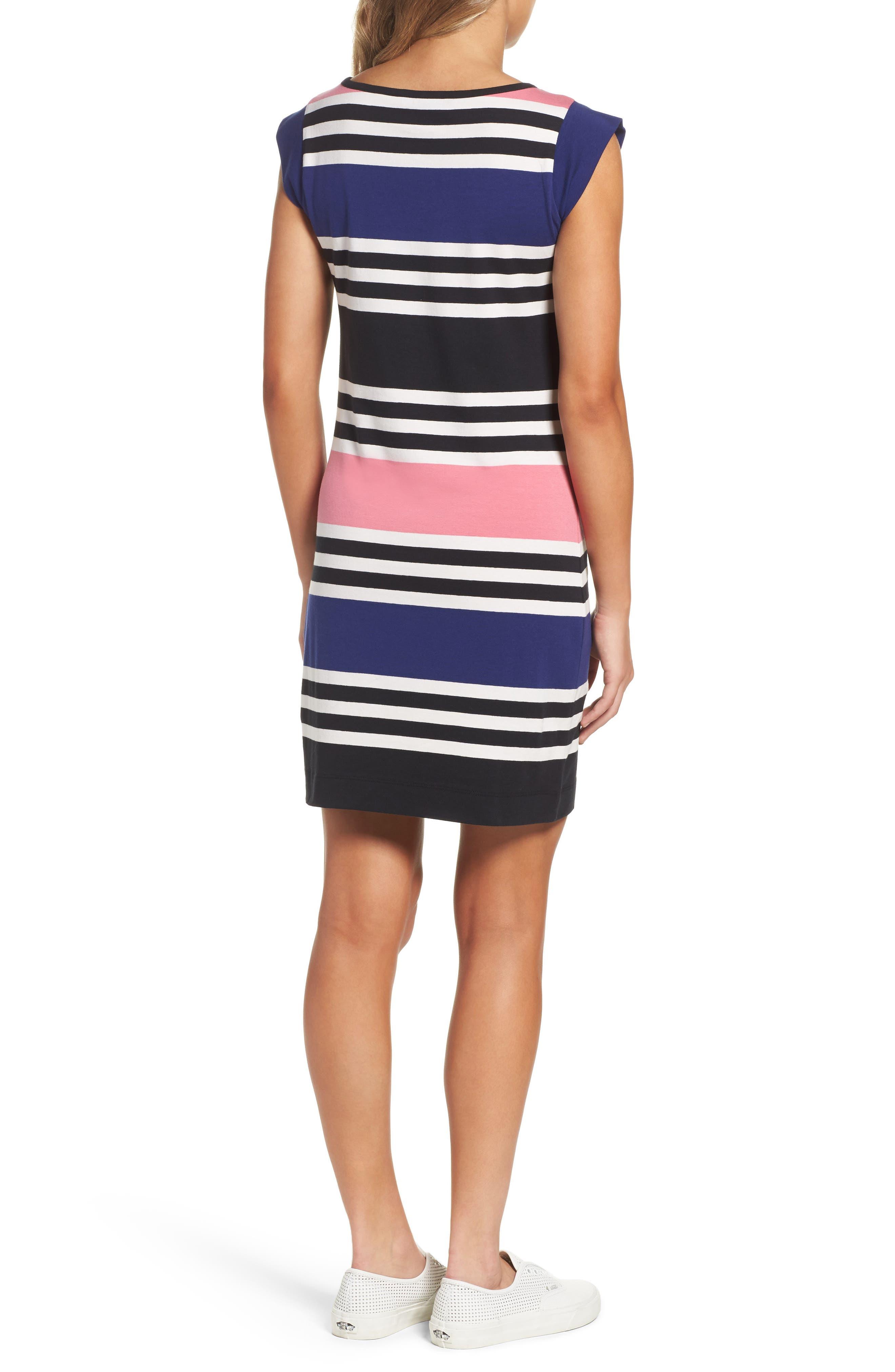 Multi Jag Stripe T-Shirt Dress,                             Alternate thumbnail 2, color,                             471