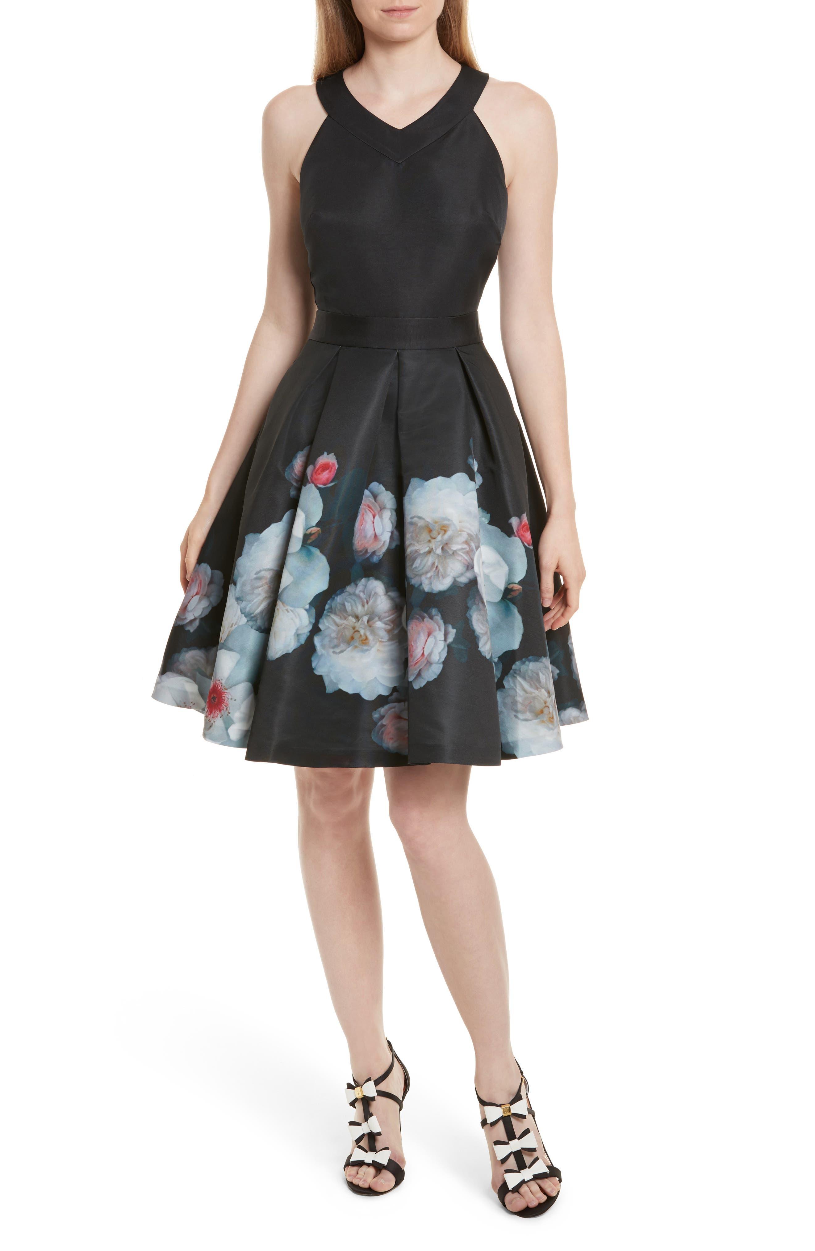 Jelina Chelsea Floral Fit & Flare Dress,                             Main thumbnail 1, color,                             001