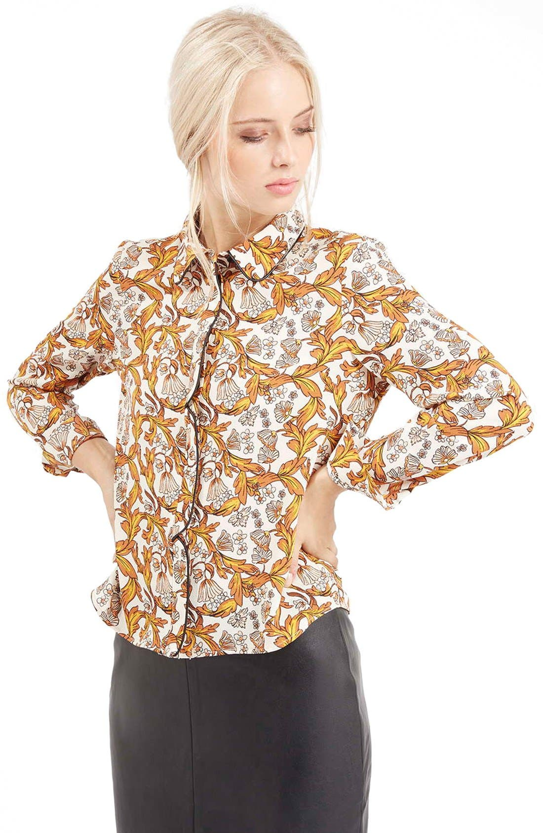 Piped Floral Print Shirt, Main, color, 900