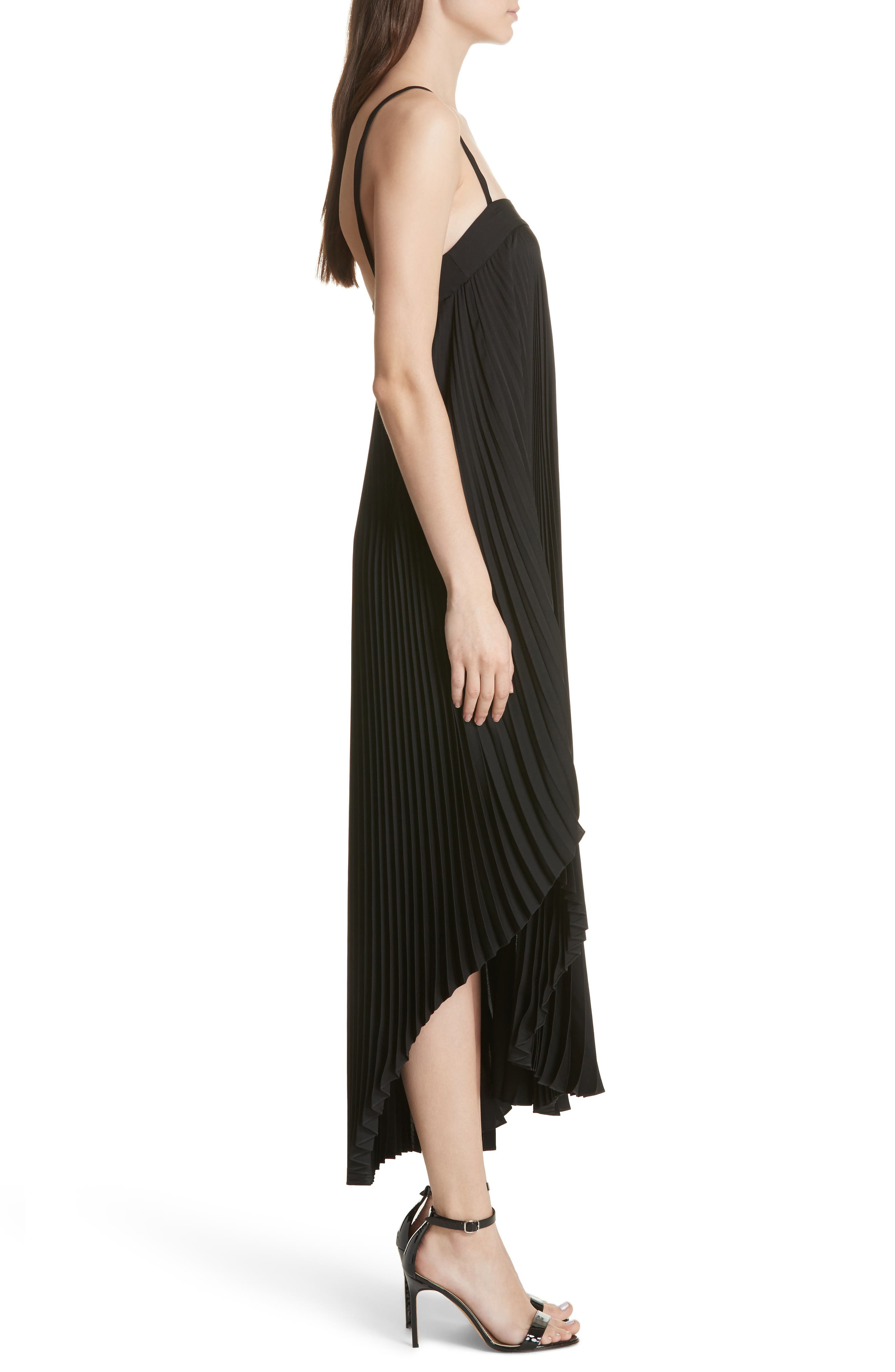 Irene Asymmetrical Pleated Silk Maxi Dress,                             Alternate thumbnail 3, color,                             001