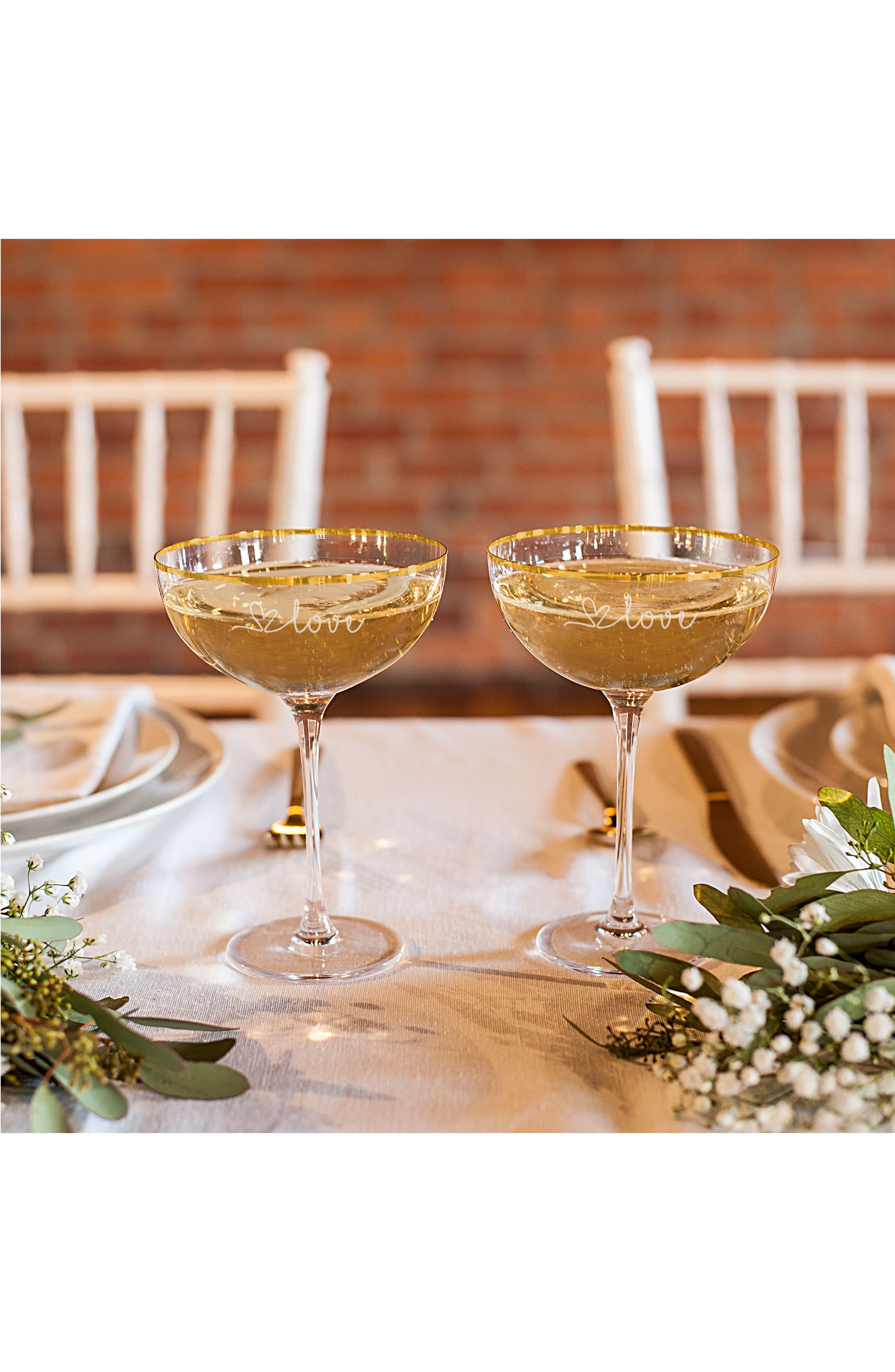 Love Set of 2 Champagne Coupe Toasting Glasses,                             Alternate thumbnail 3, color,                             710