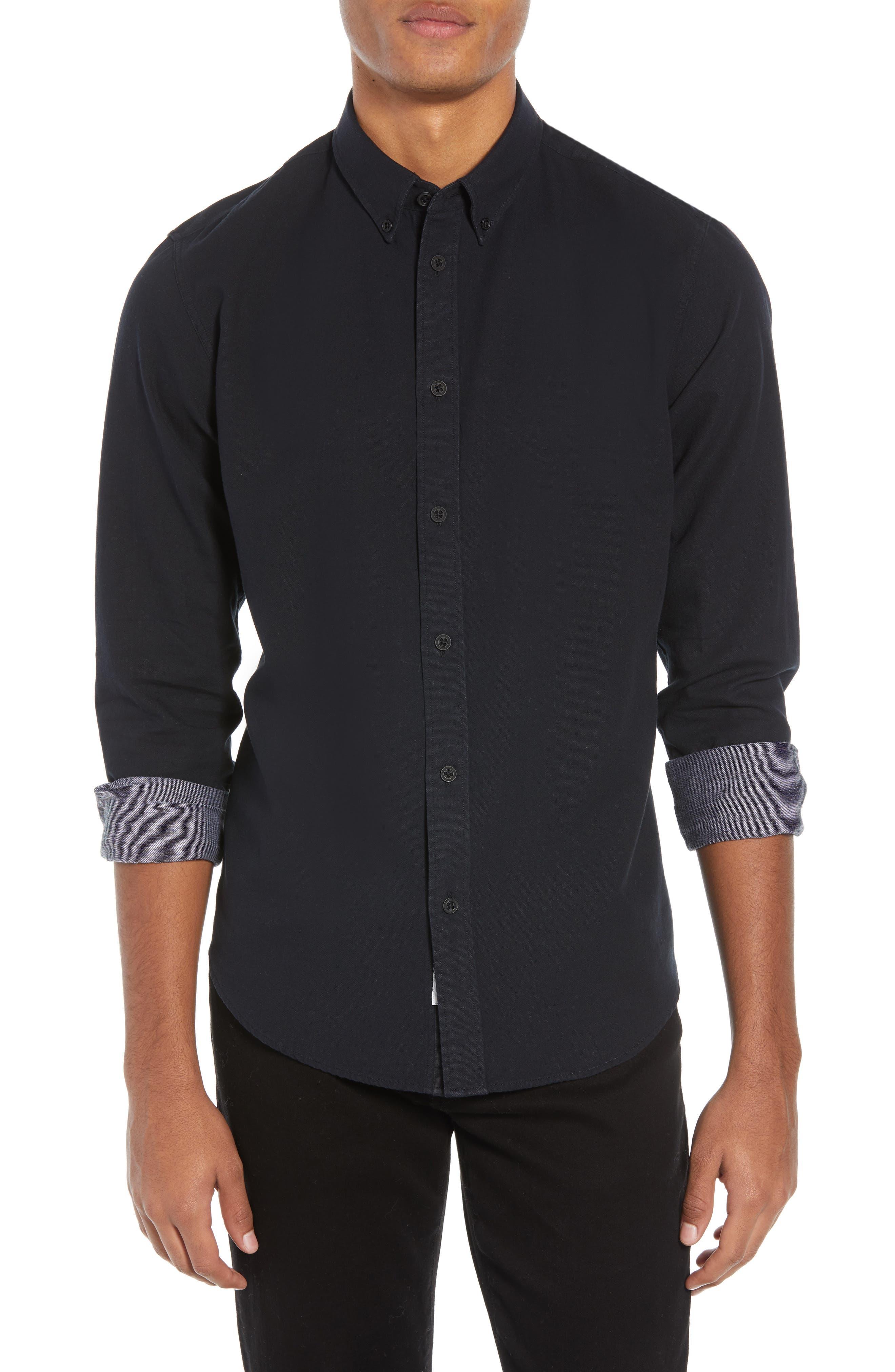 Fit 2 Slim Tomlin Sport Shirt,                         Main,                         color, BLACK/ WHITE